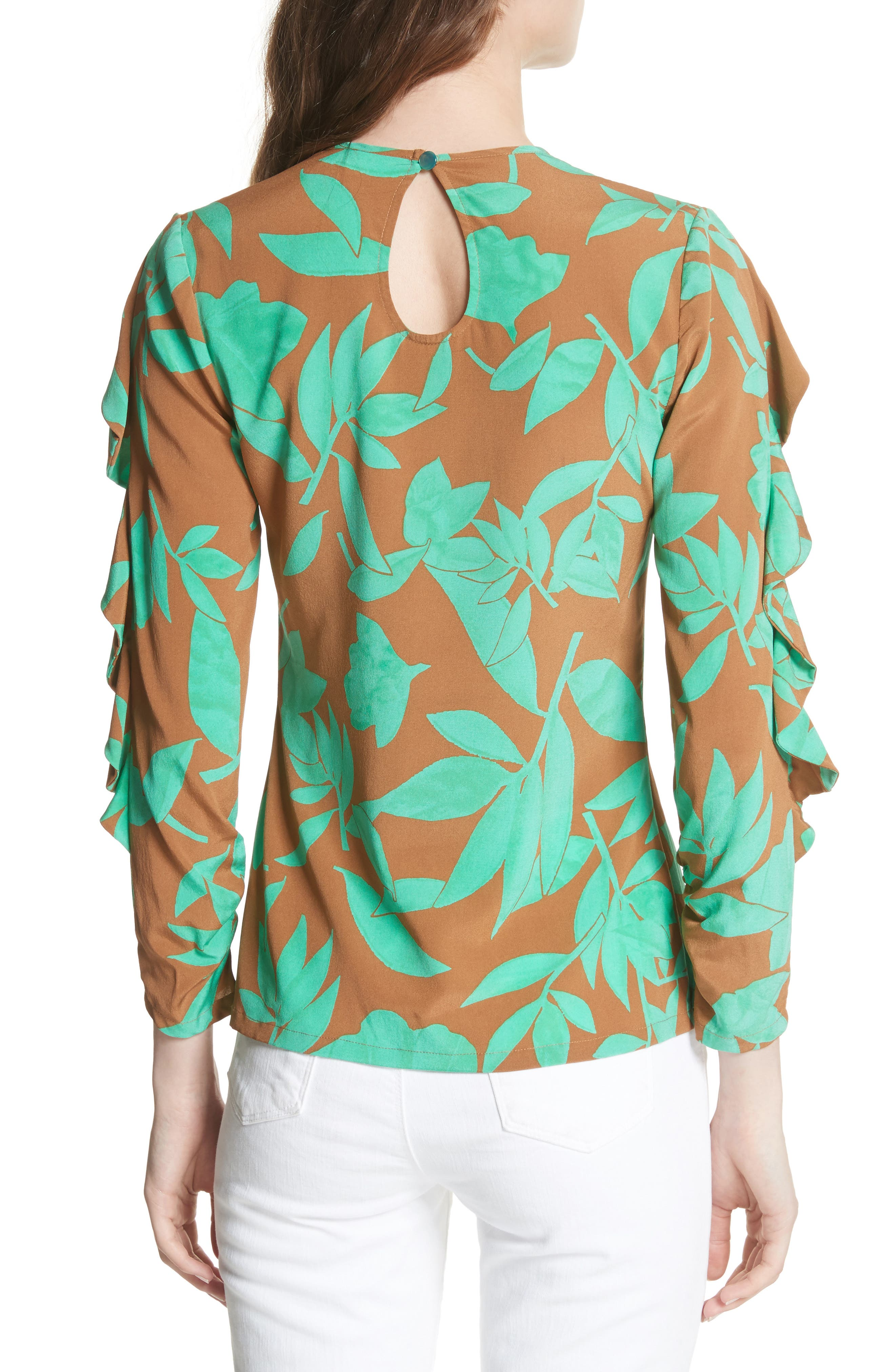 Frilled Floral Stretch Silk Top,                             Alternate thumbnail 2, color,                             Acorn/ Jade