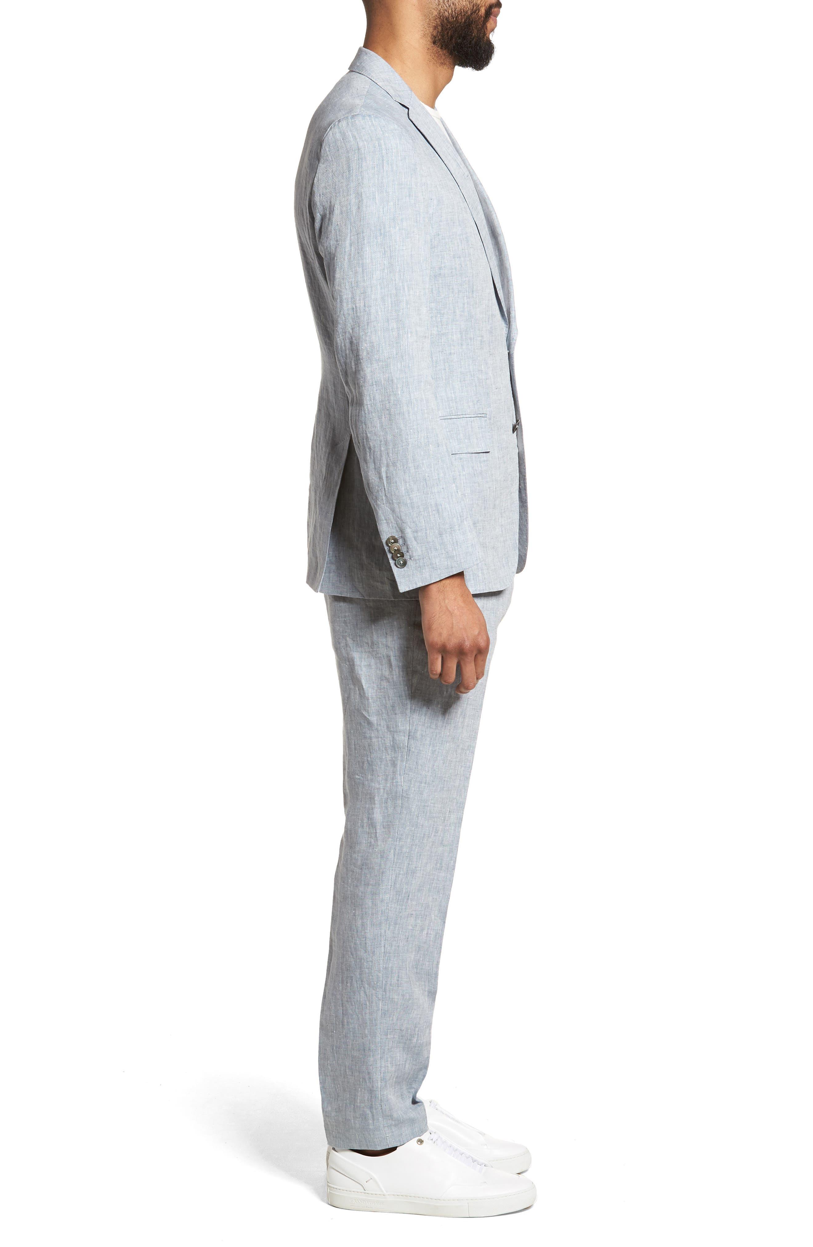 Helford/Gander Trim Fit Solid Linen Suit,                             Alternate thumbnail 3, color,                             Light Blue