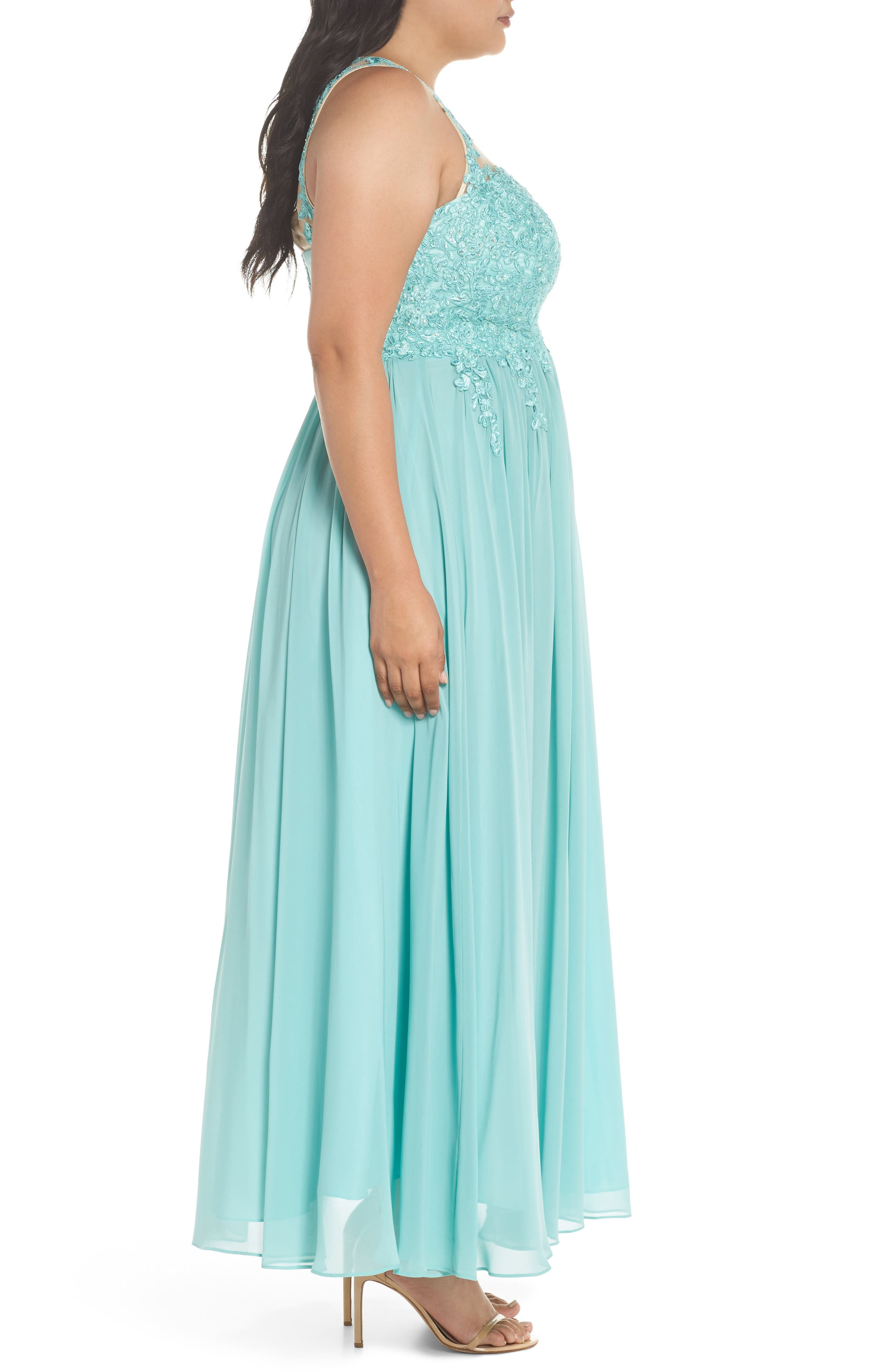 Embellished A-Line Chiffon Gown,                             Alternate thumbnail 3, color,                             Mint