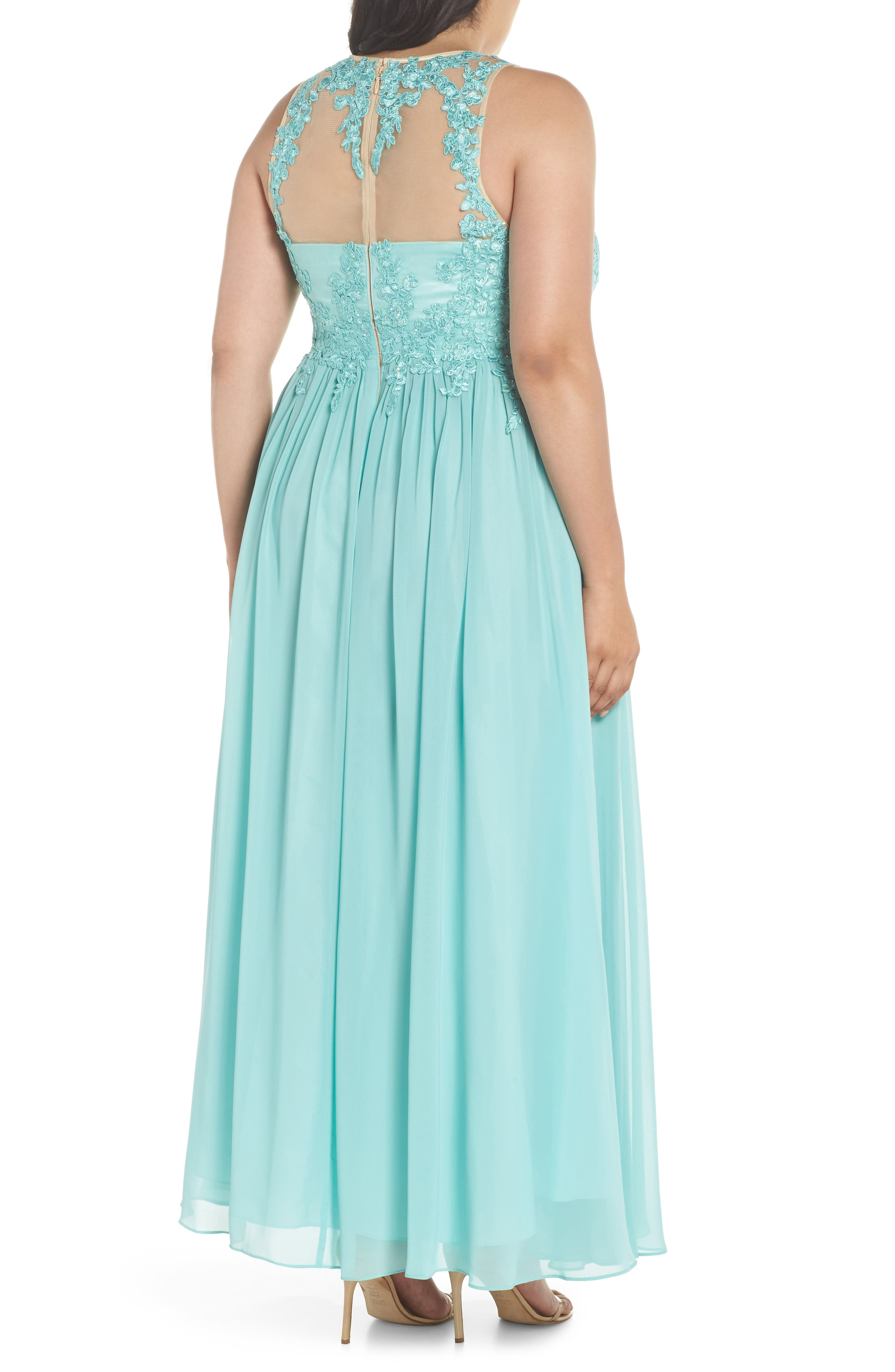 Embellished A-Line Chiffon Gown,                             Alternate thumbnail 2, color,                             Mint