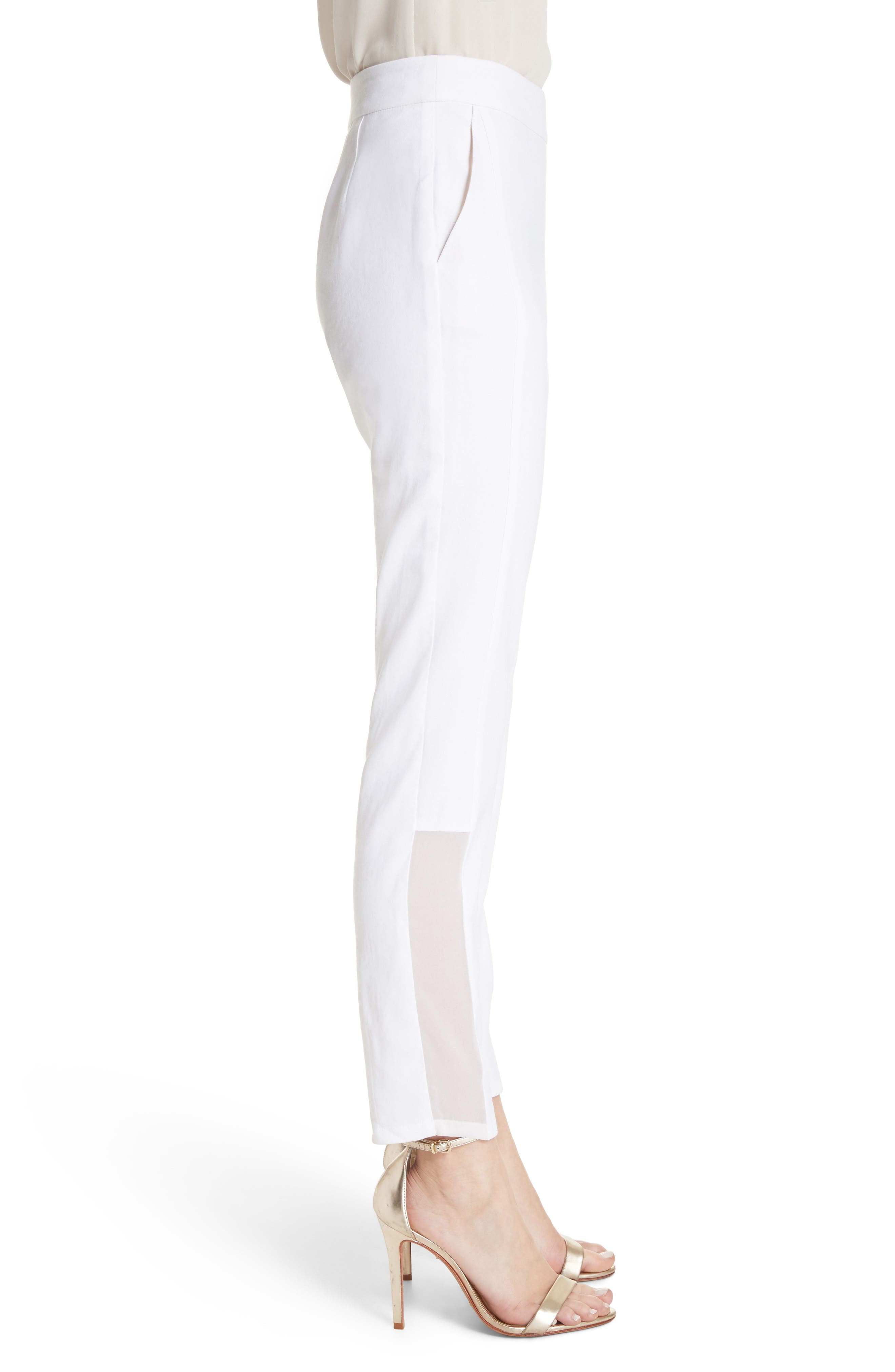 Sheer Inset Stretch Twill Pants,                             Alternate thumbnail 3, color,                             Bianco