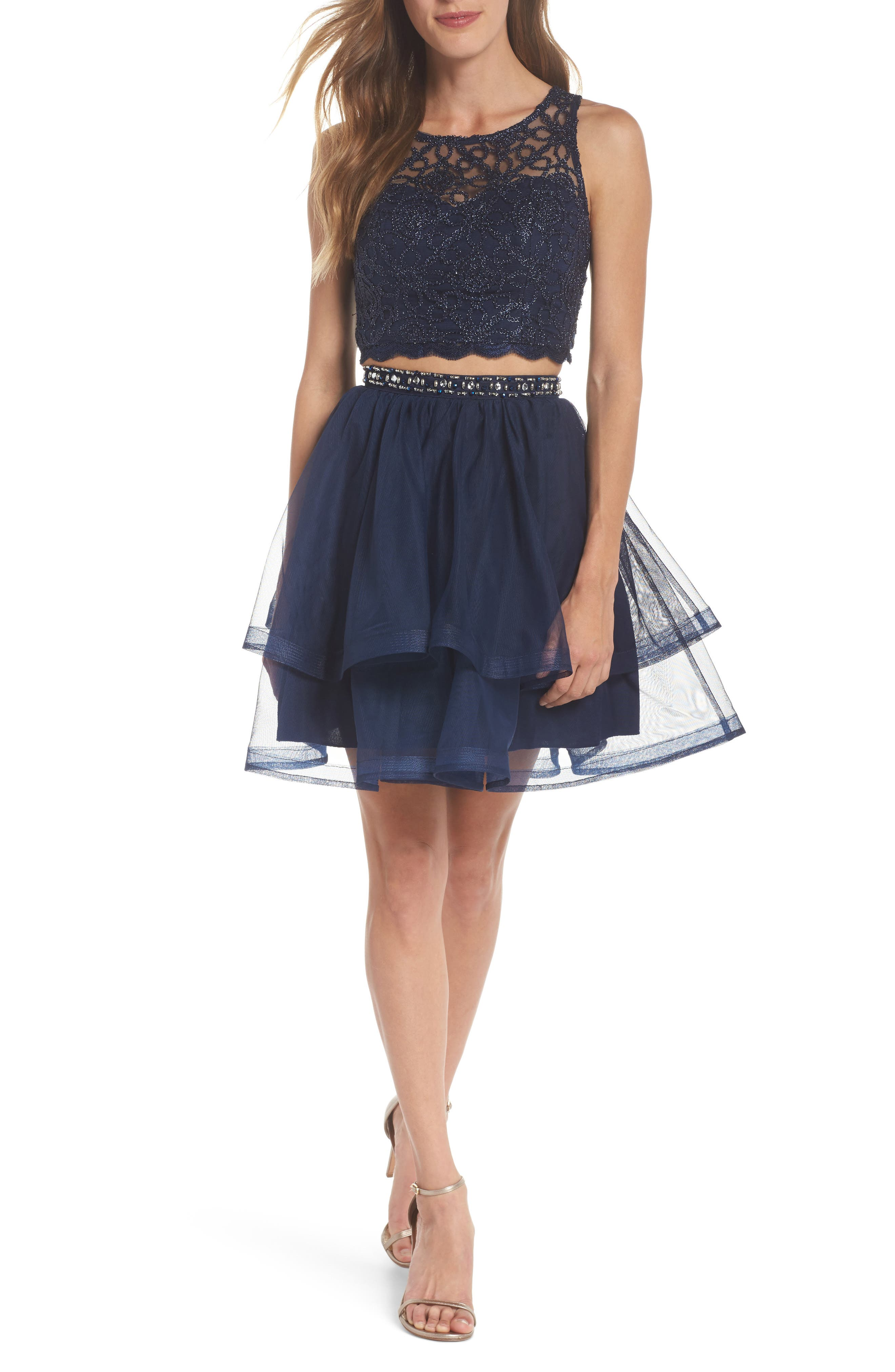 Chain Lace Mesh Two-Piece Dress,                         Main,                         color, Navy