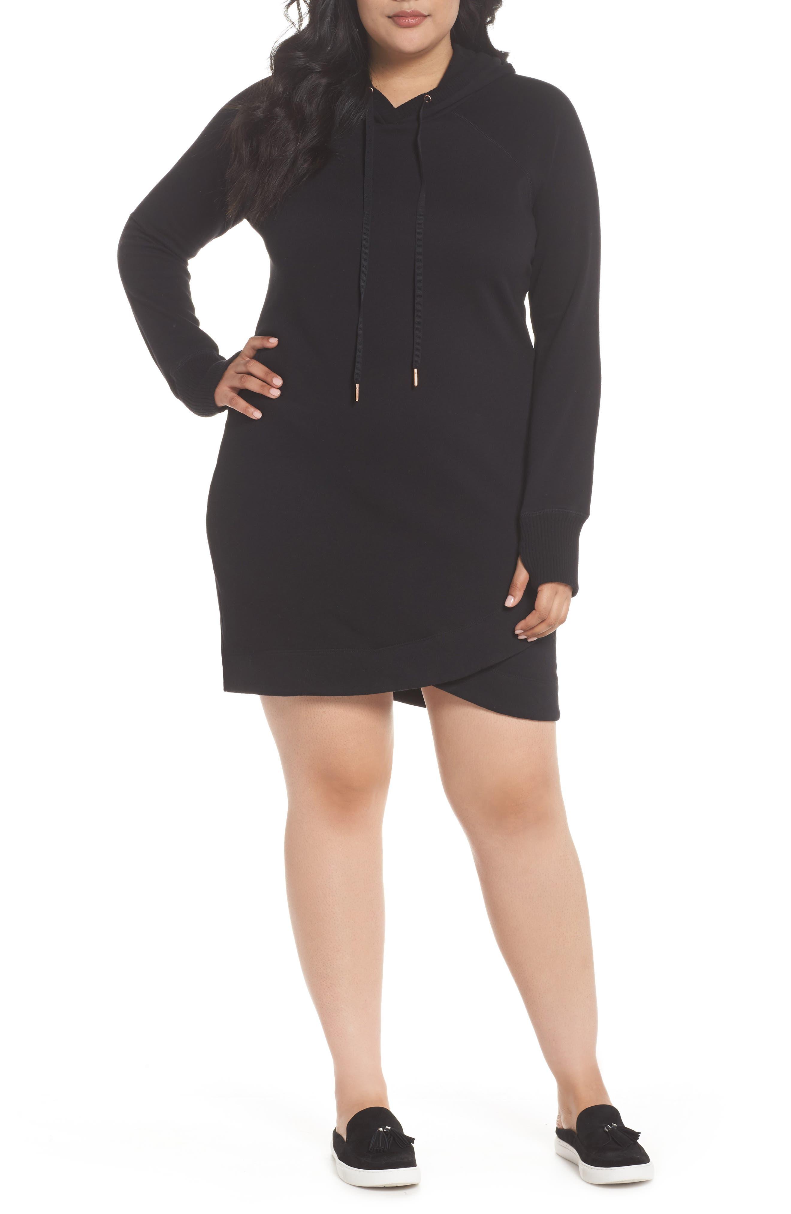 Off-Duty Hooded Sweatshirt Dress,                             Main thumbnail 1, color,                             Black