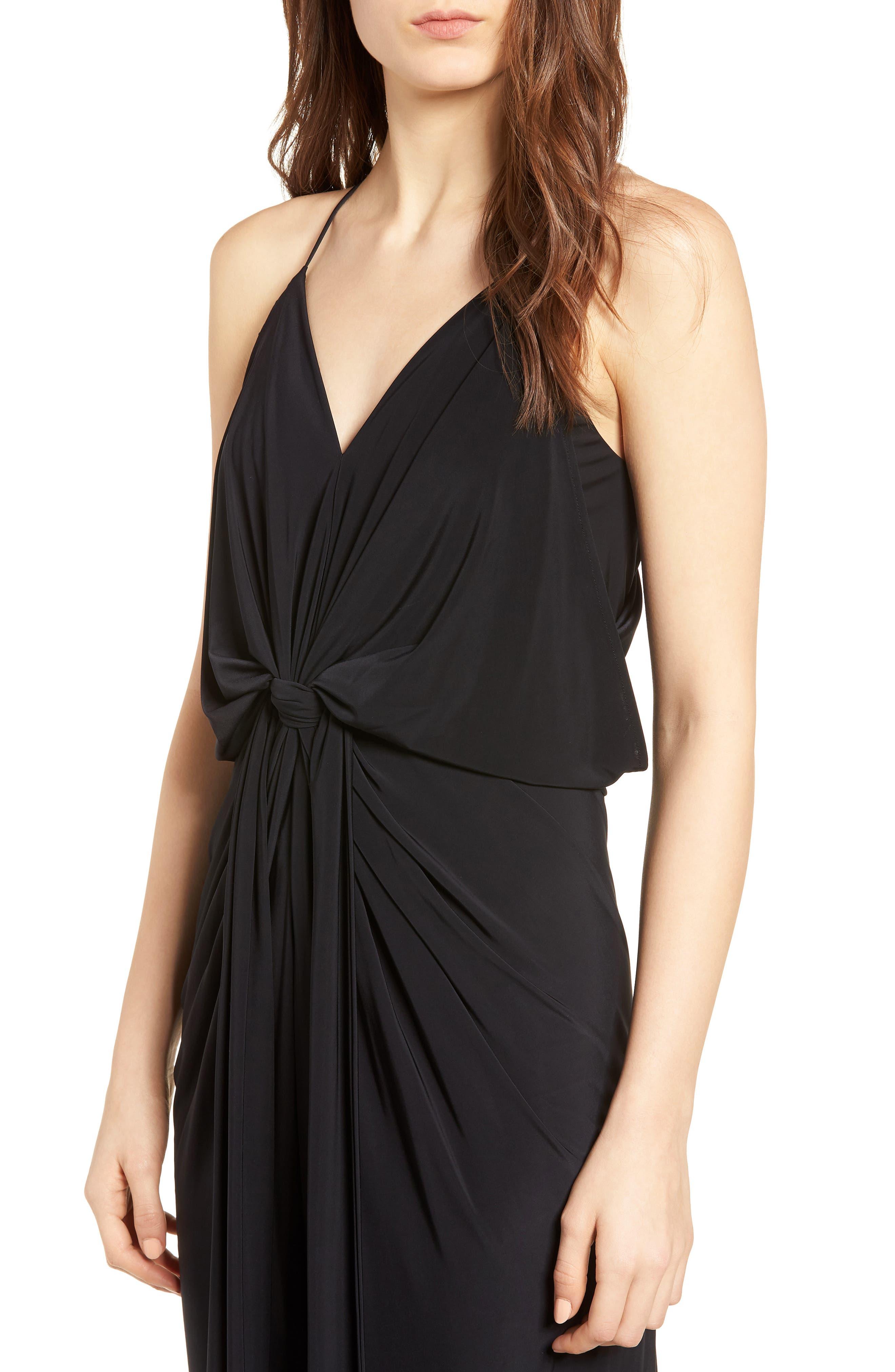 Domino Knot Maxi Dress,                             Alternate thumbnail 4, color,                             Black