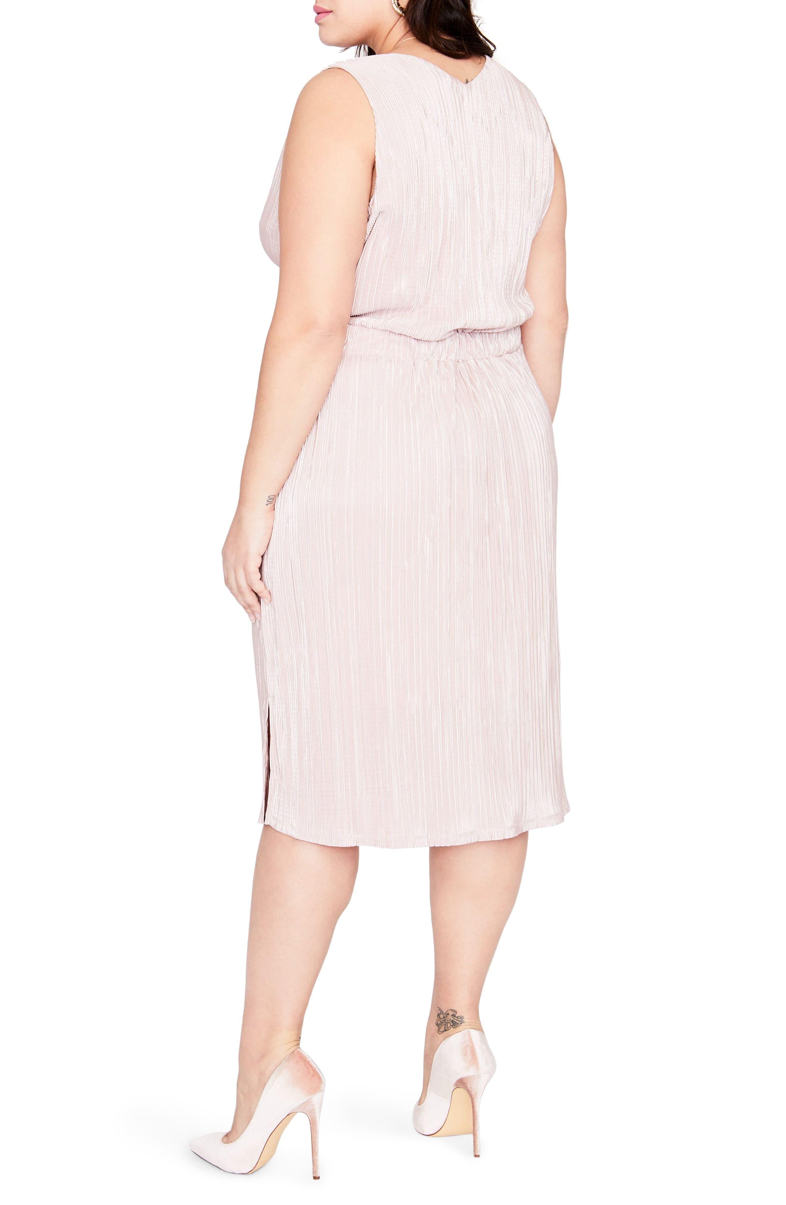 Belted Metallic Pleated Blouson Dress,                             Alternate thumbnail 2, color,                             Blush Combo