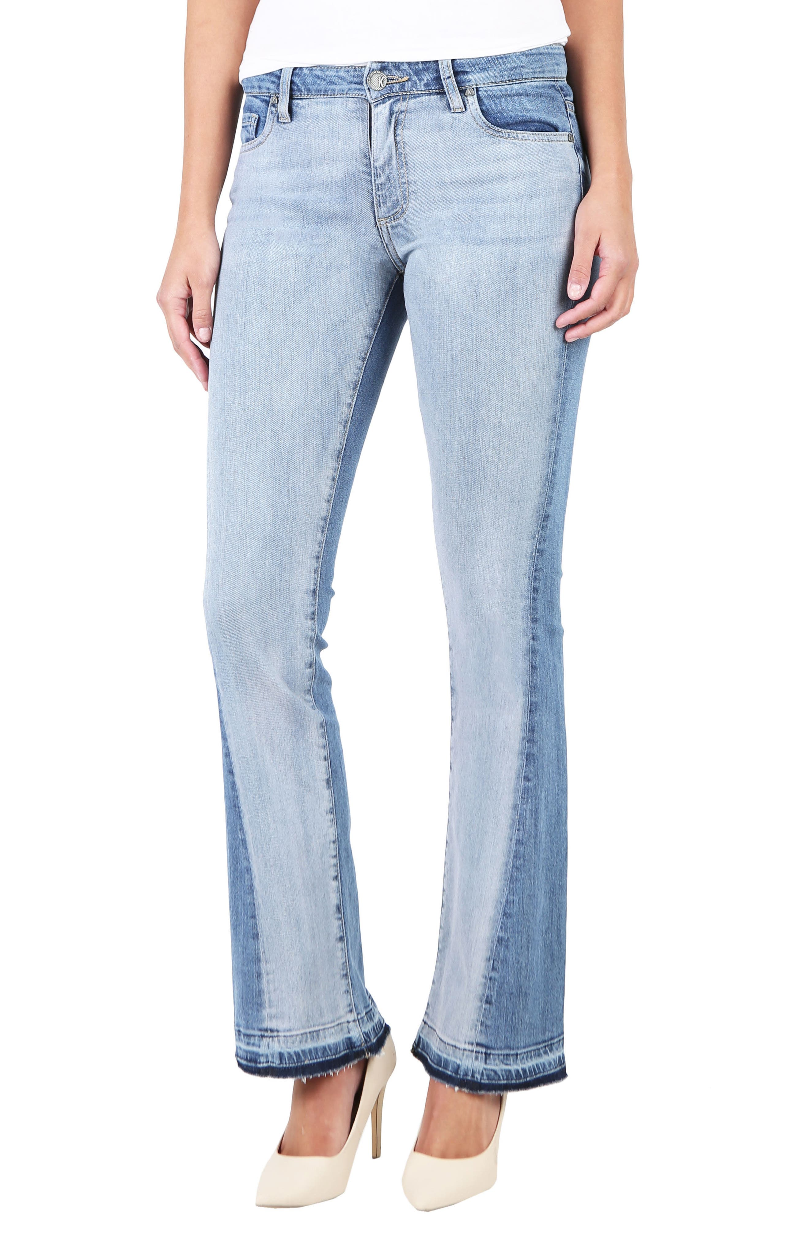 Baby Bootcut Contrast Release Hem Jeans,                             Main thumbnail 1, color,                             Coached