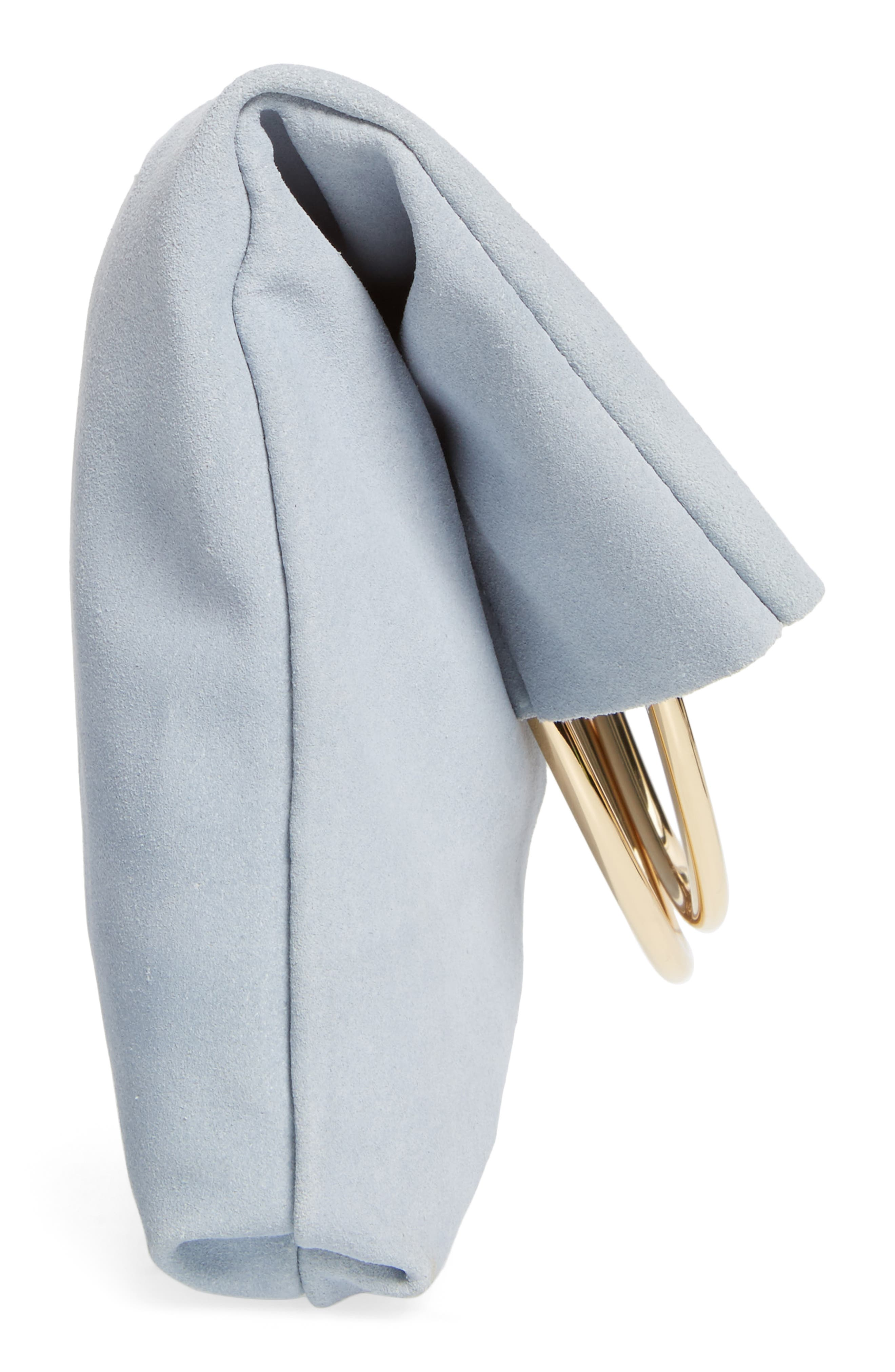 Suede Foldover Clutch,                             Alternate thumbnail 5, color,                             Cloudy Blue