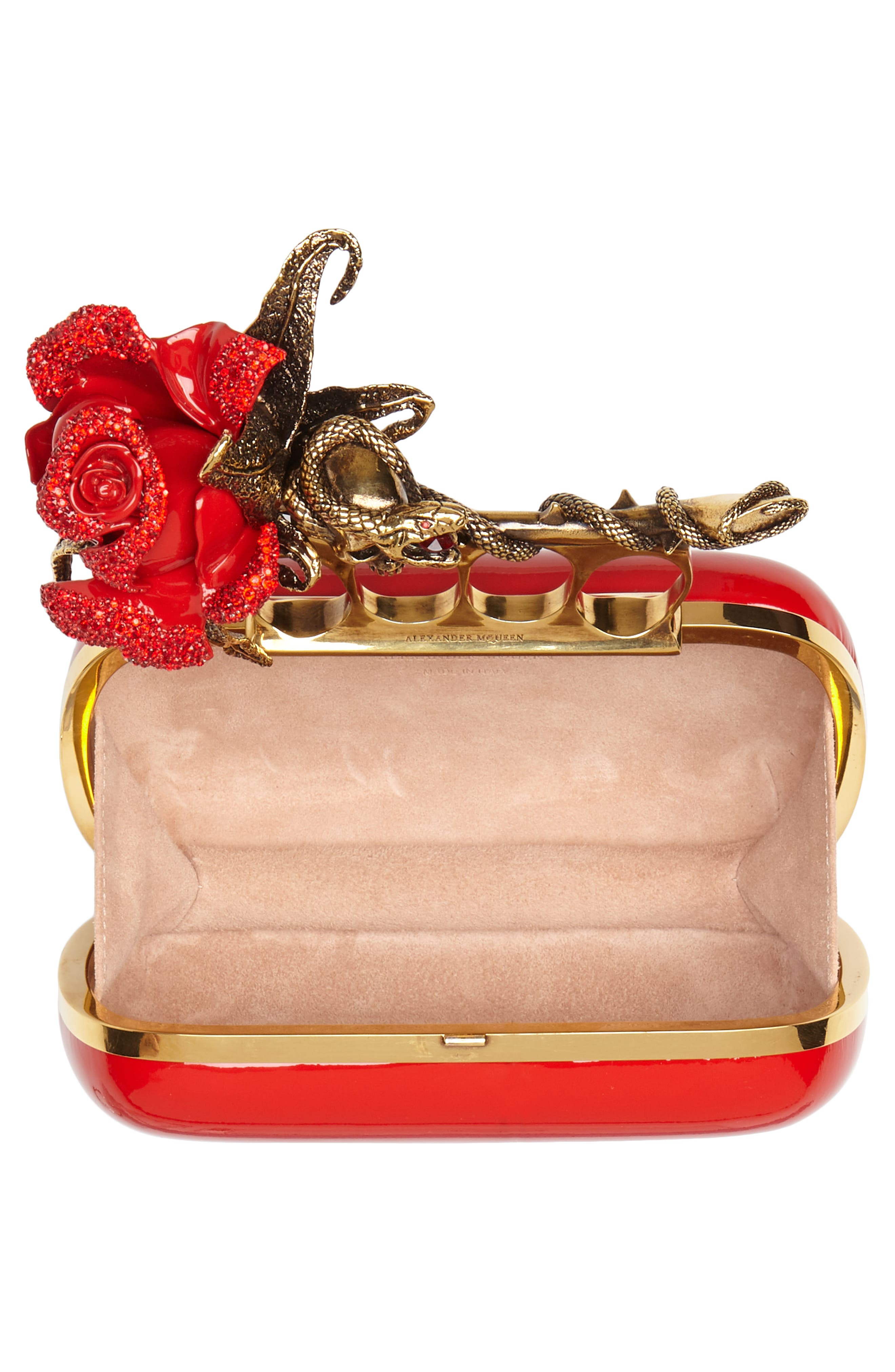 Knuckle Clasp Patent Leather Box Clutch,                             Alternate thumbnail 4, color,                             Lust Red