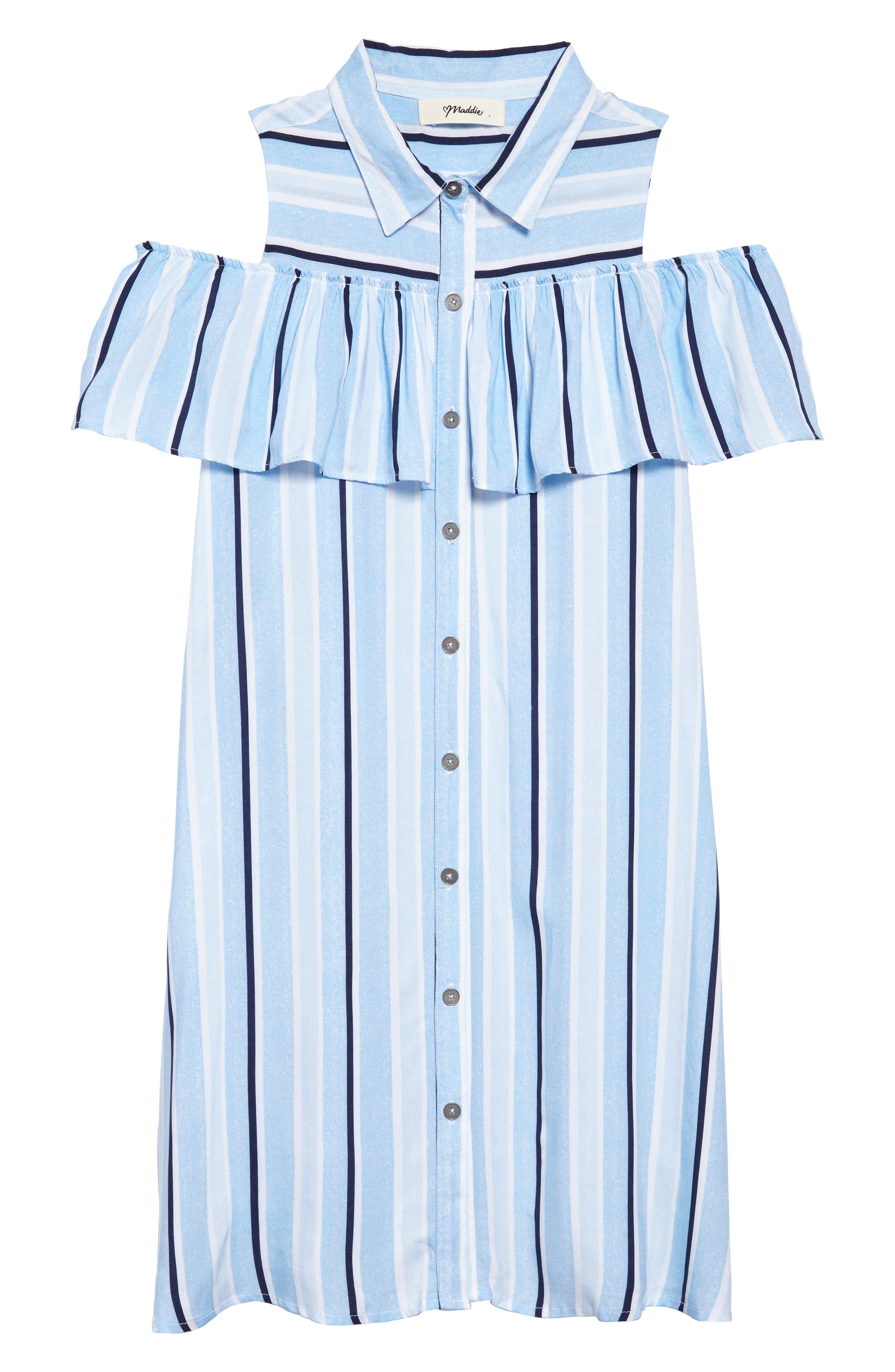 Cold Shoulder Knit Shirtdress,                             Main thumbnail 1, color,                             Light Blue/ White