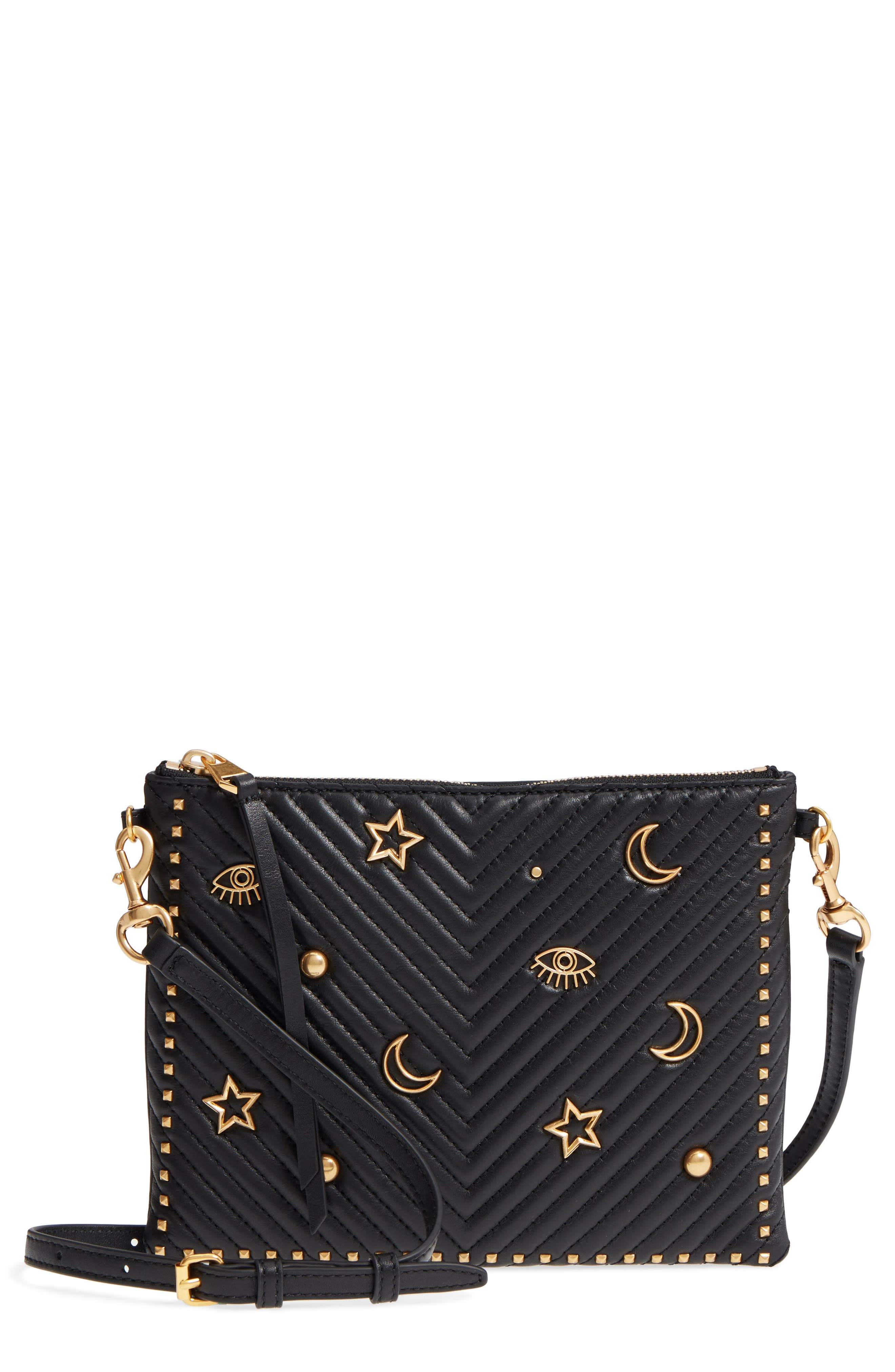 Jon Quilted Leather Crossbody Bag,                         Main,                         color, Black