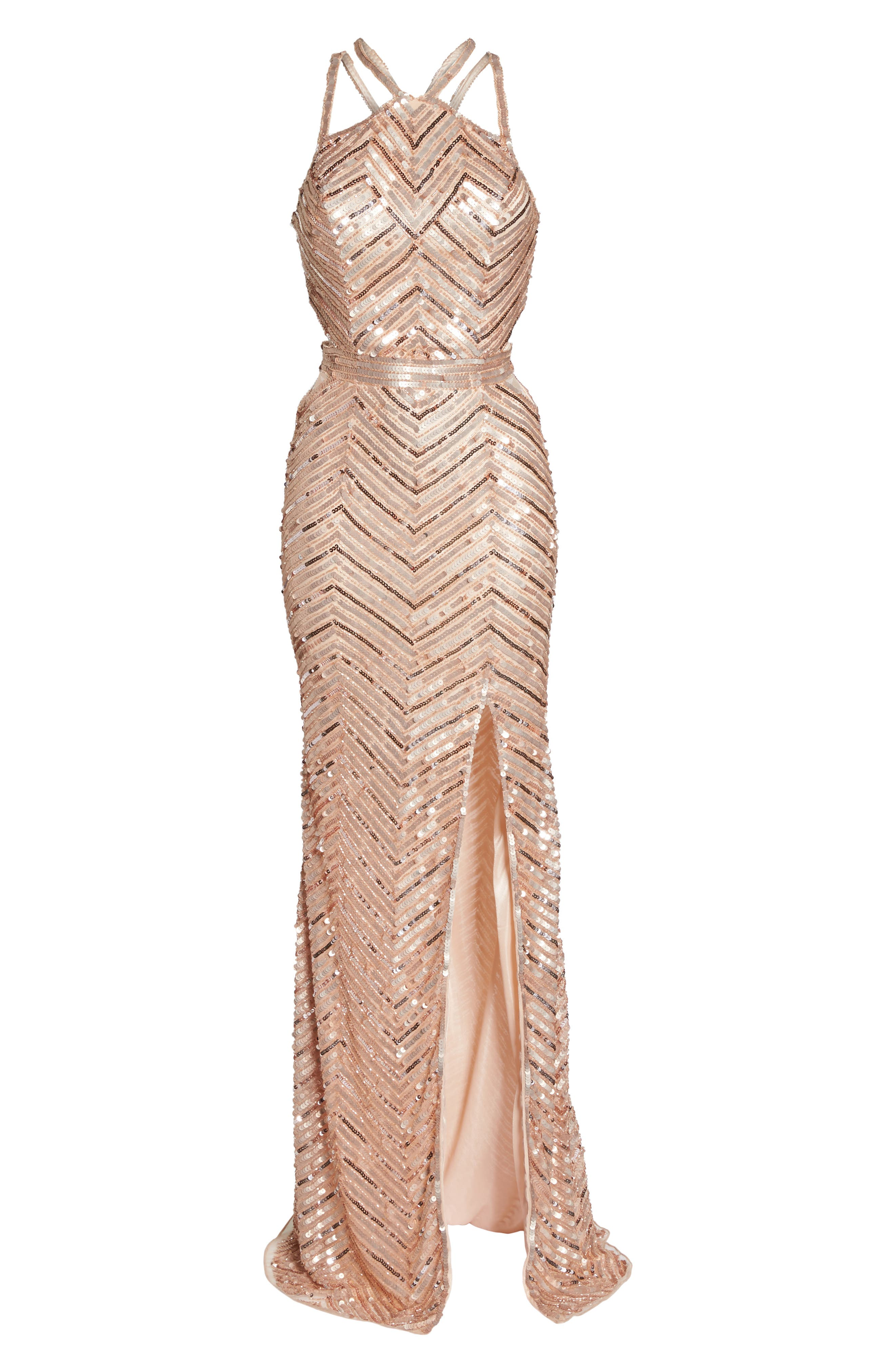 Sequin Strappy Gown,                             Alternate thumbnail 6, color,                             Rose Gold