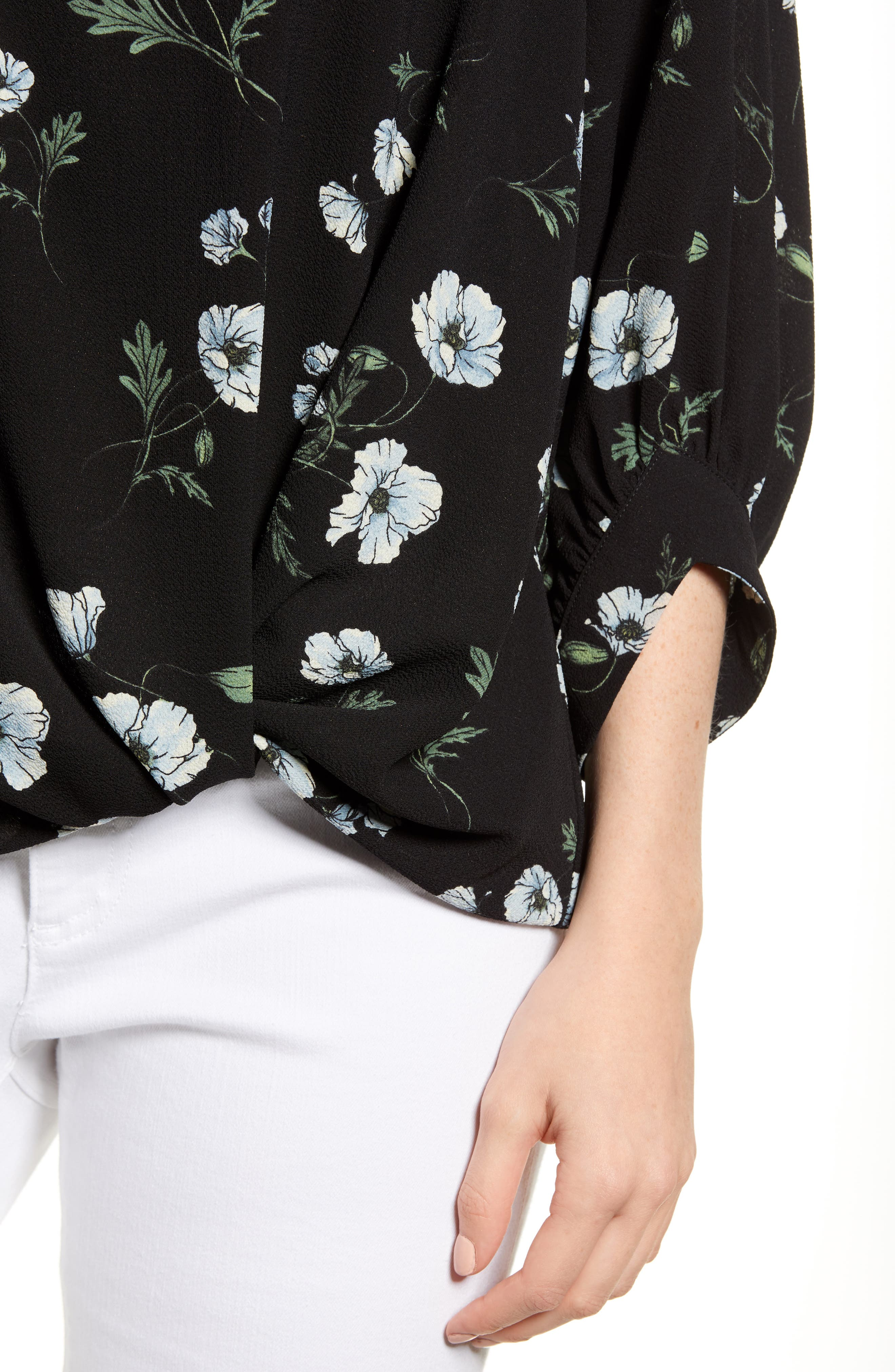 x Living in Yellow Maggie Twist Hem Top,                             Alternate thumbnail 6, color,                             Black Floral