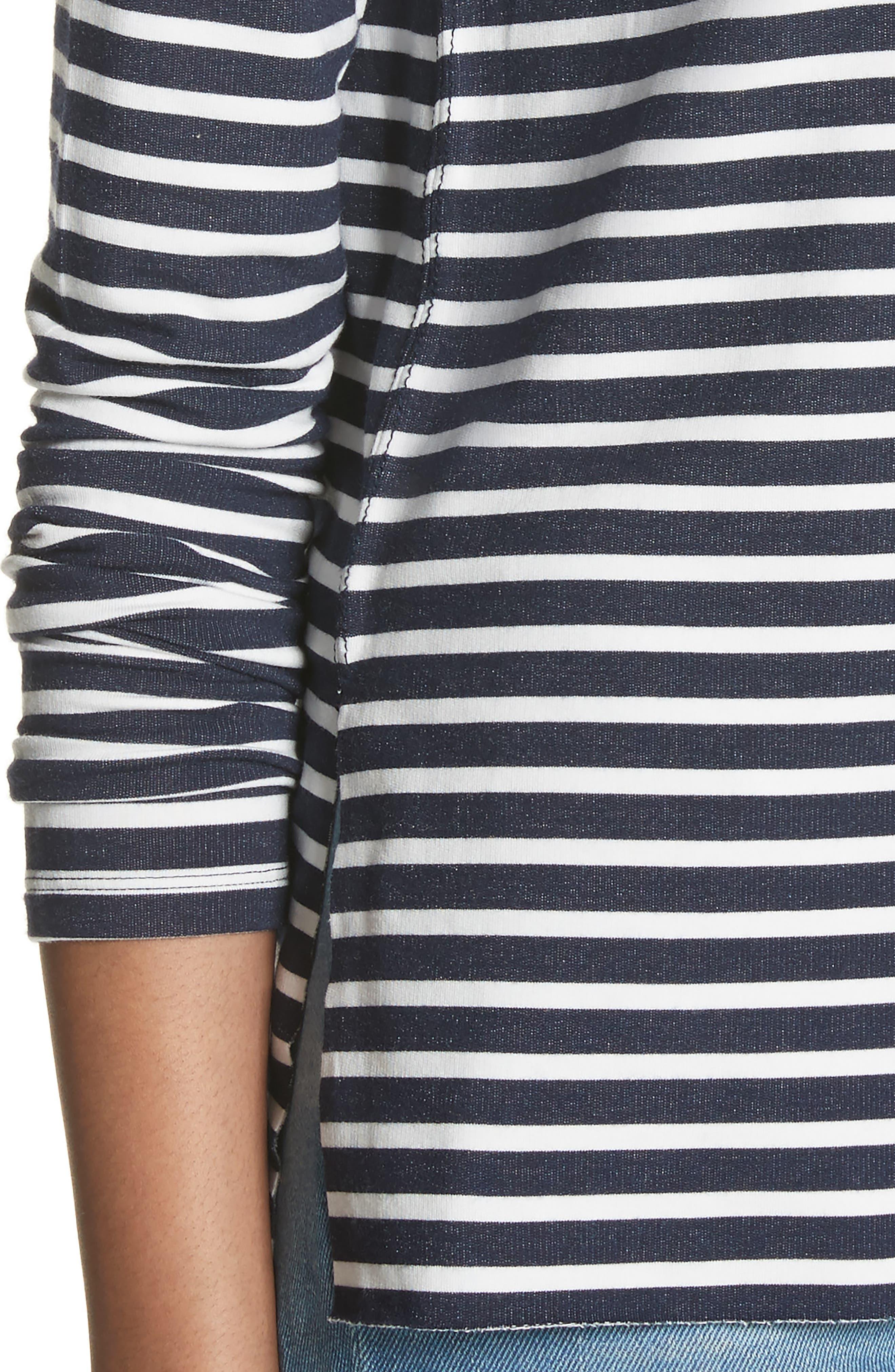 Stripe Sweatshirt,                             Alternate thumbnail 4, color,                             Marine/ Milk