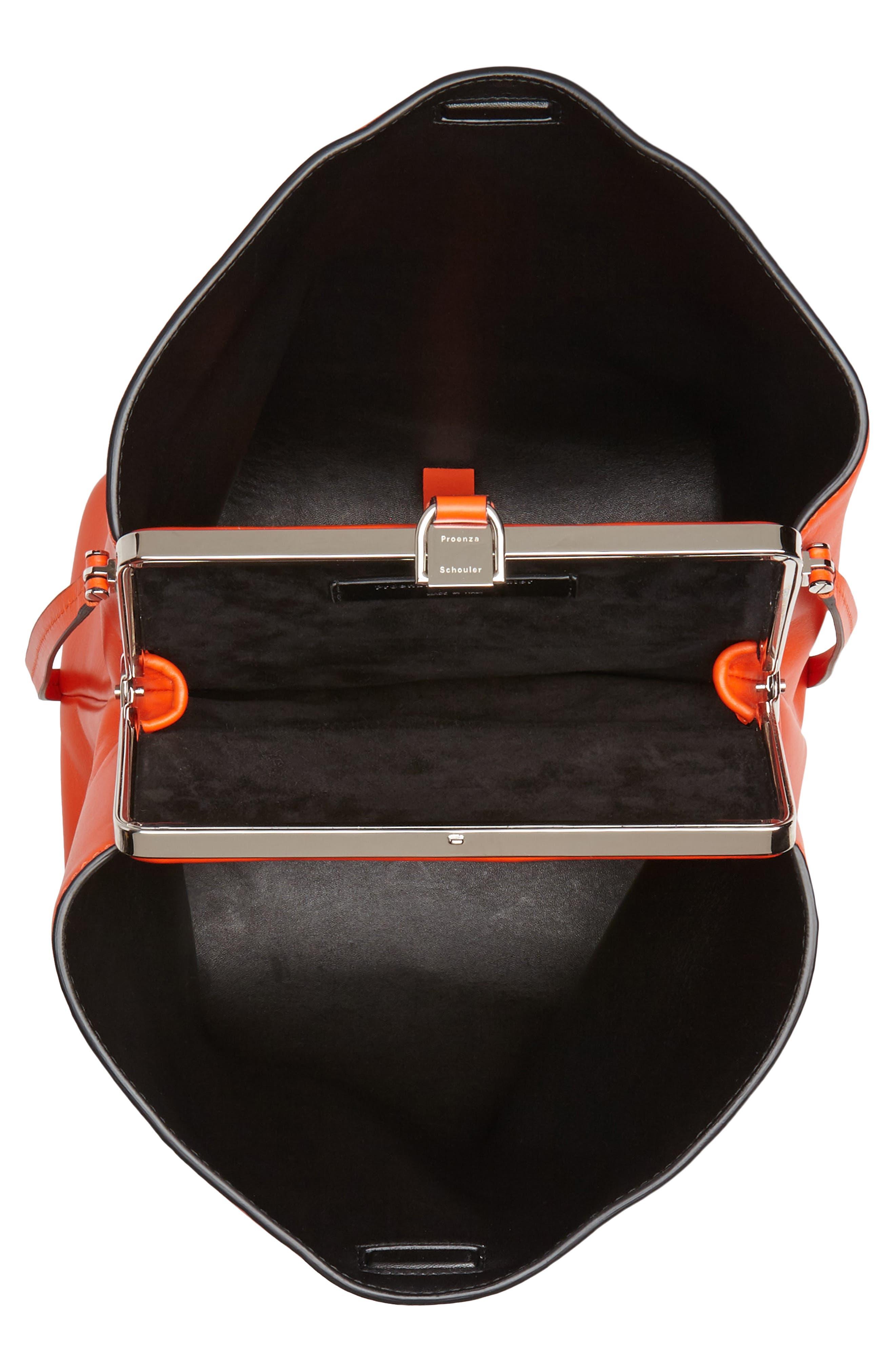 Frame Leather Shoulder Bag,                             Alternate thumbnail 4, color,                             Orange