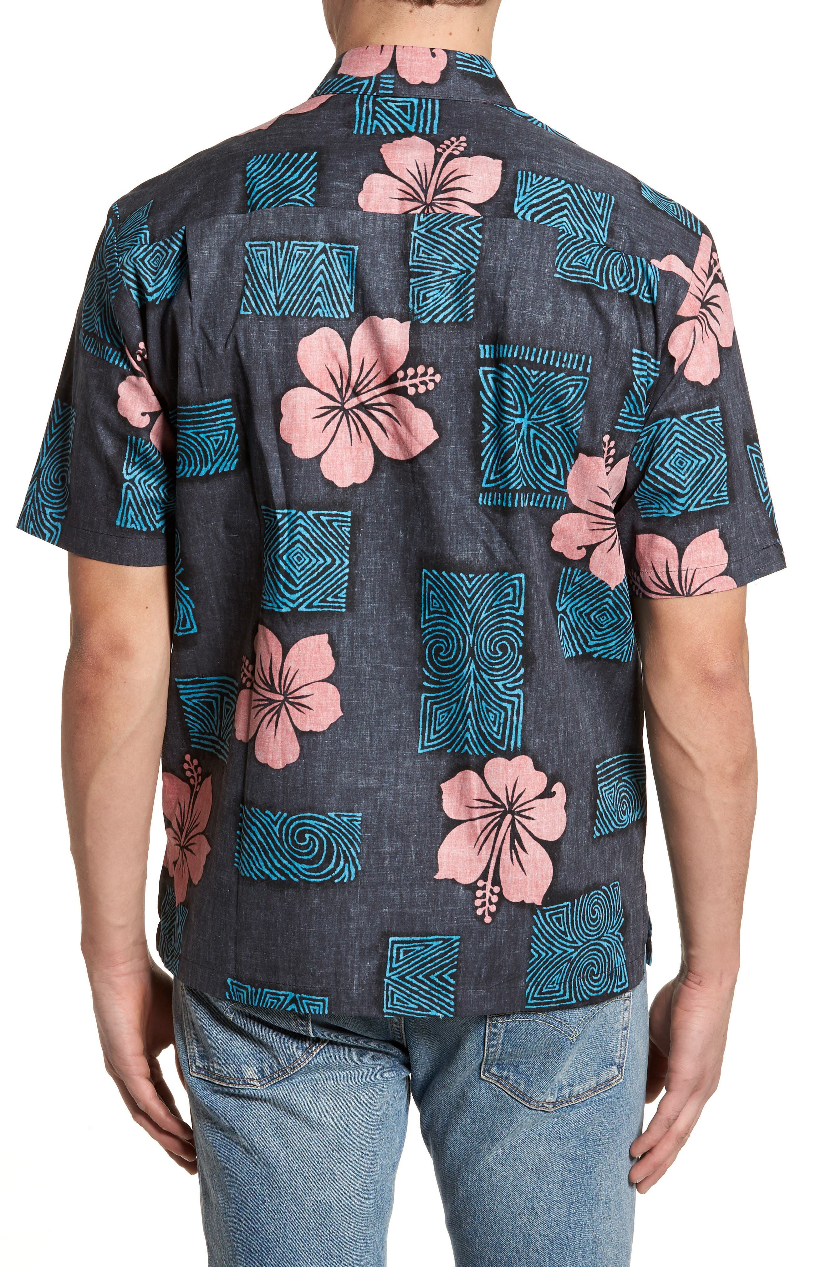 Tiki Room Standard Fit Camp Shirt,                             Alternate thumbnail 3, color,                             Black