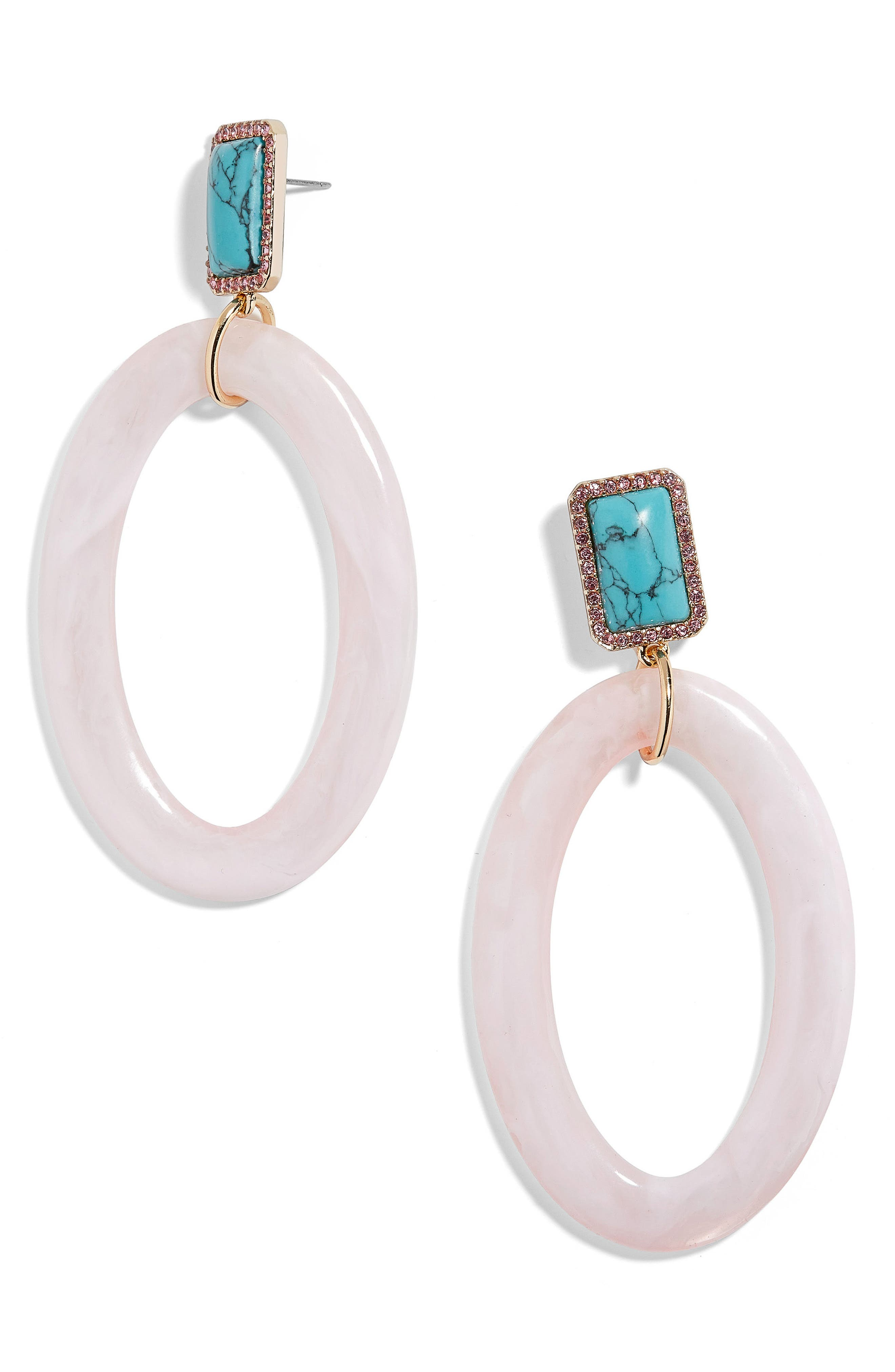 Tristine Drusy & Oval Drop Earrings,                             Main thumbnail 1, color,                             Blush