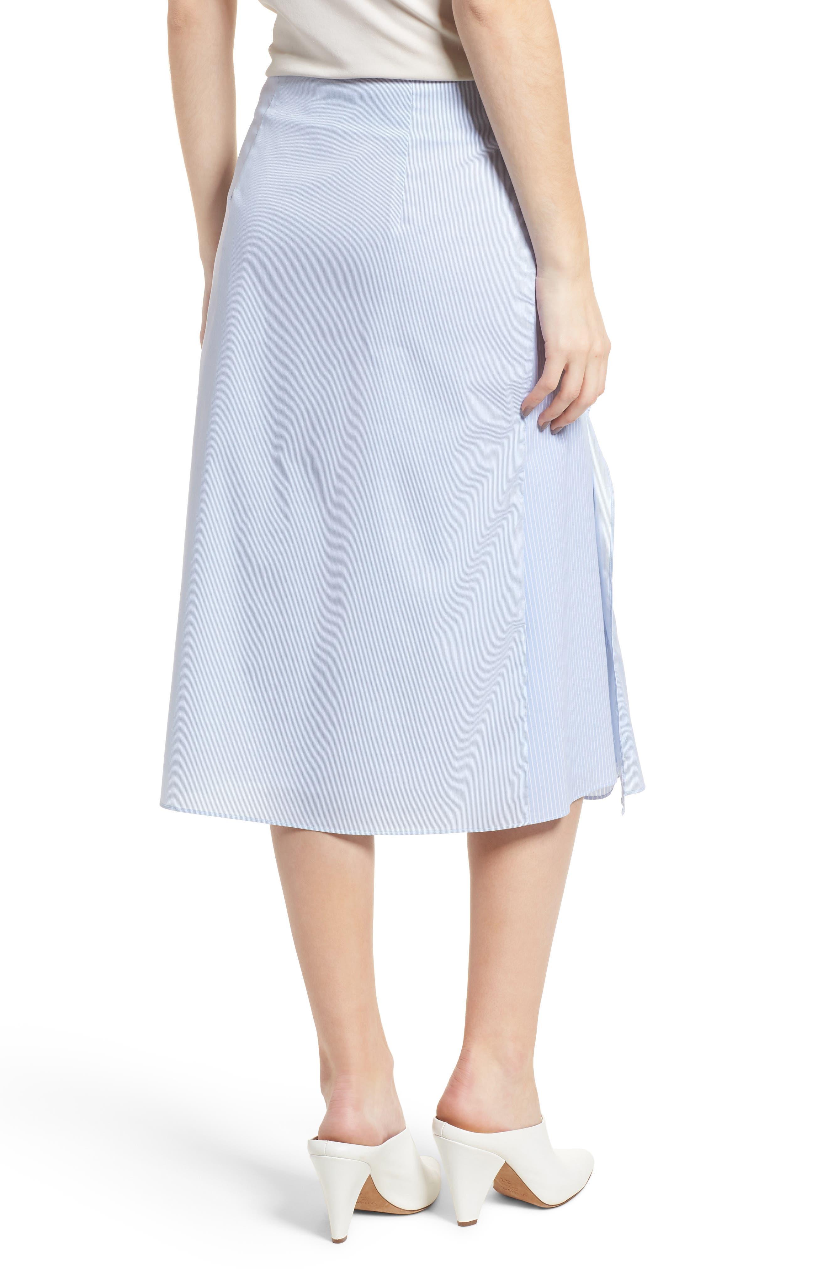 Mixed Stripe Poplin A-Line Skirt,                             Alternate thumbnail 2, color,                             Blue/ White Pinstripe