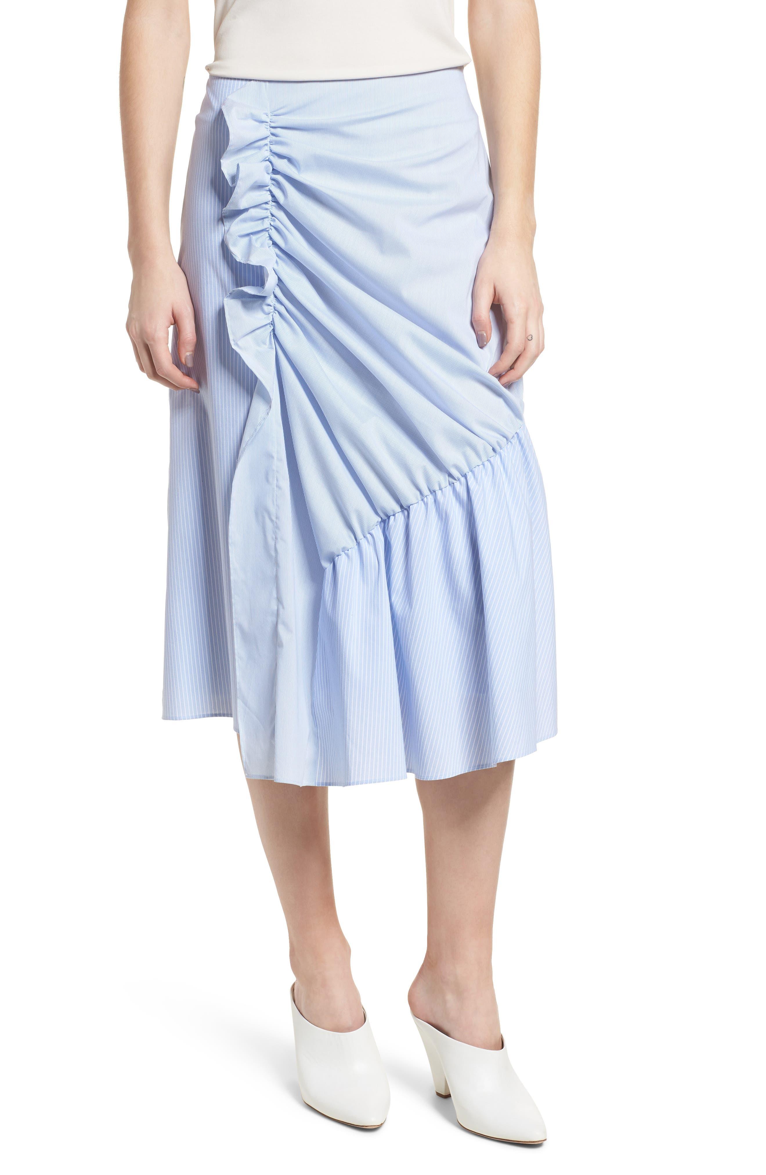 Mixed Stripe Poplin A-Line Skirt,                             Main thumbnail 1, color,                             Blue/ White Pinstripe