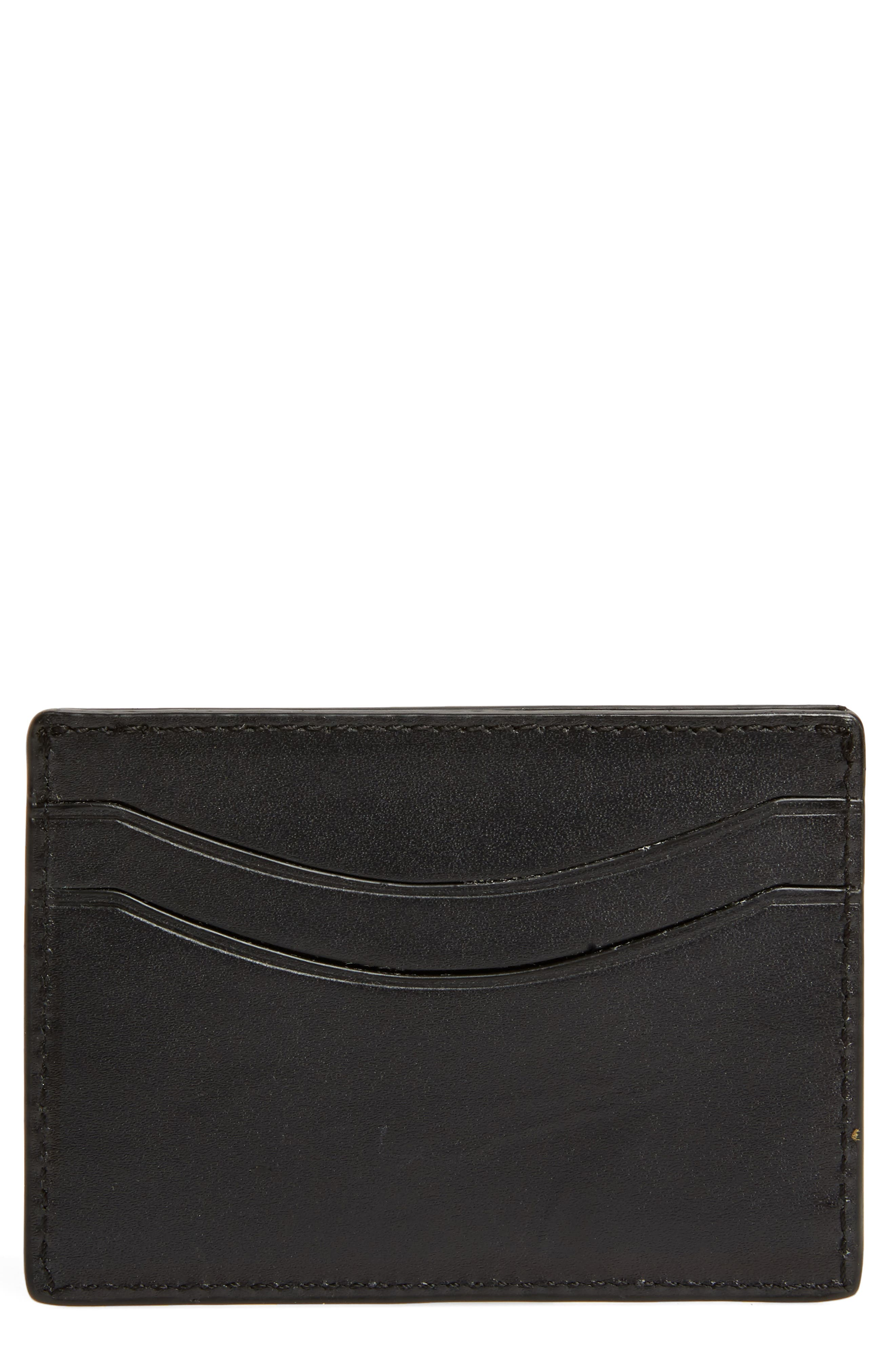 Curved Leather Card Case,                             Main thumbnail 1, color,                             Black