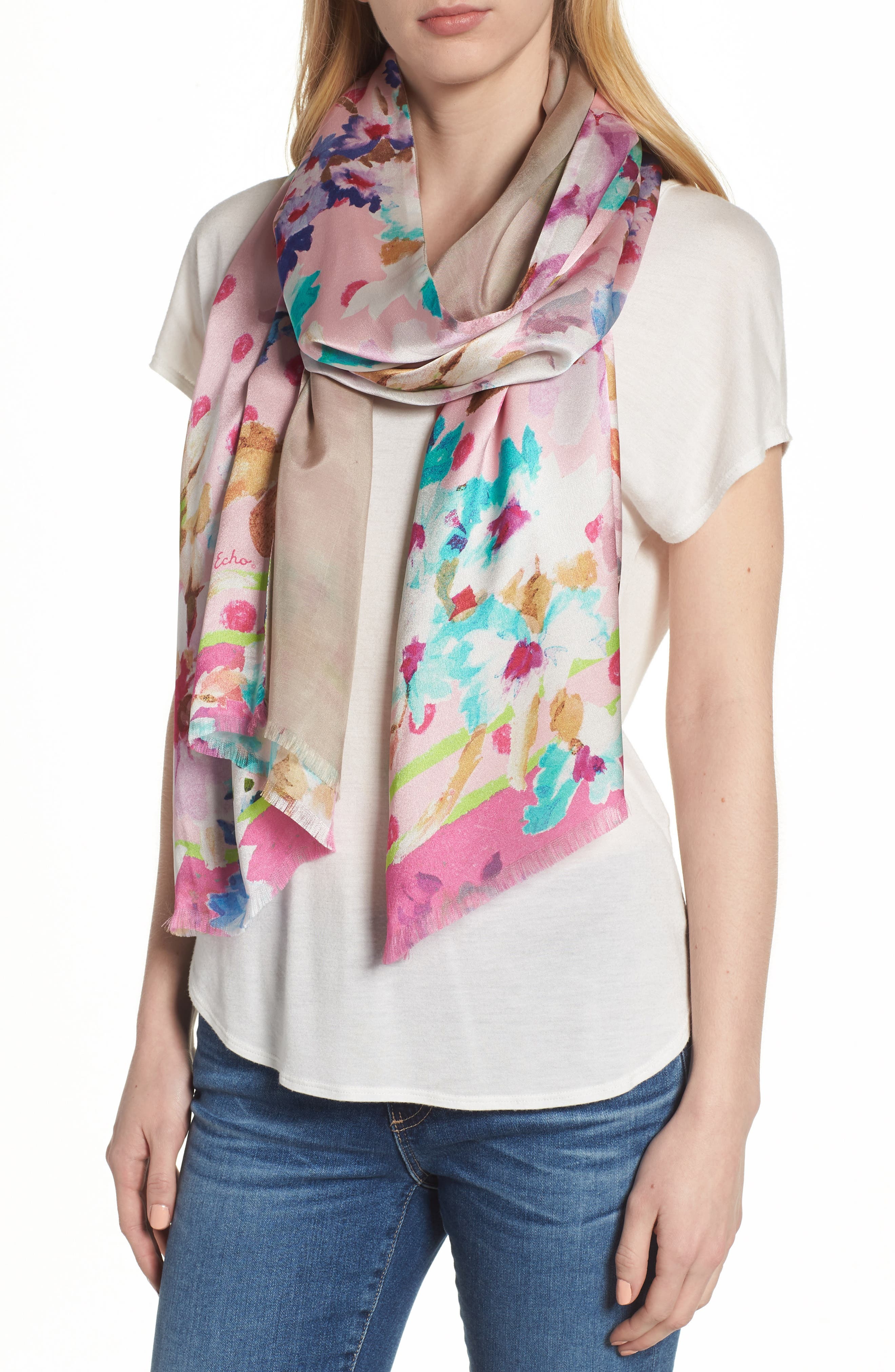Springtime Double-Face Silk Scarf,                             Main thumbnail 1, color,                             Rose Pink