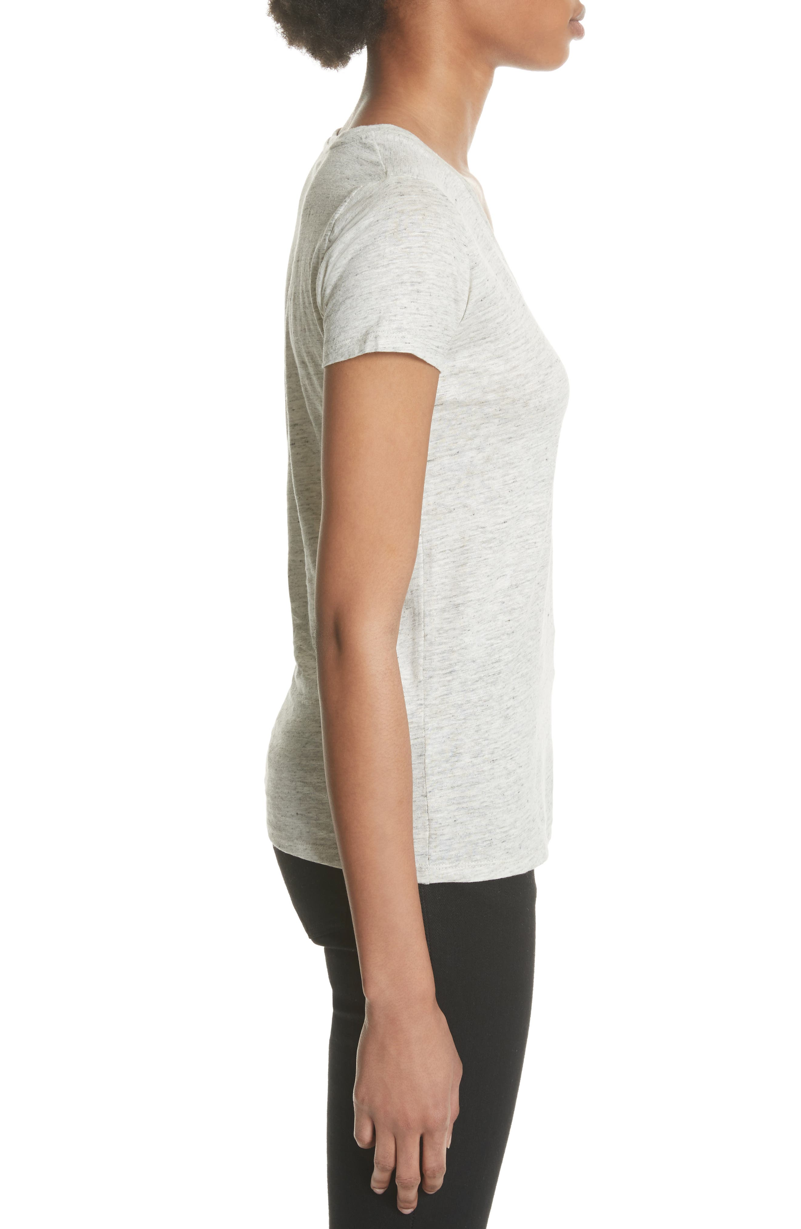 Stretch Linen V-Neck Tee,                             Alternate thumbnail 3, color,                             Carrare