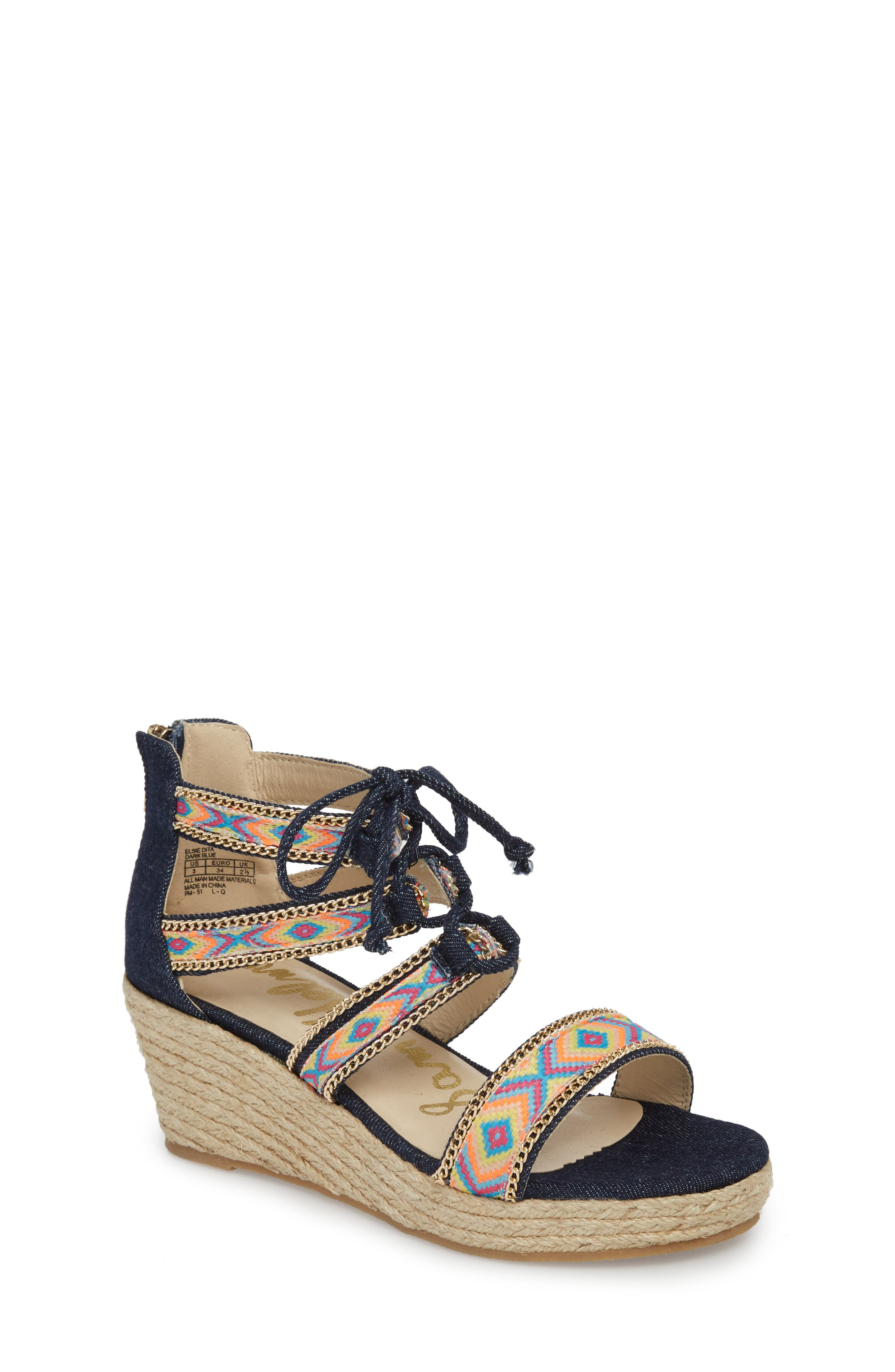 Elsie Dita Wedge Sandal,                         Main,                         color, Dark Blue Fabric