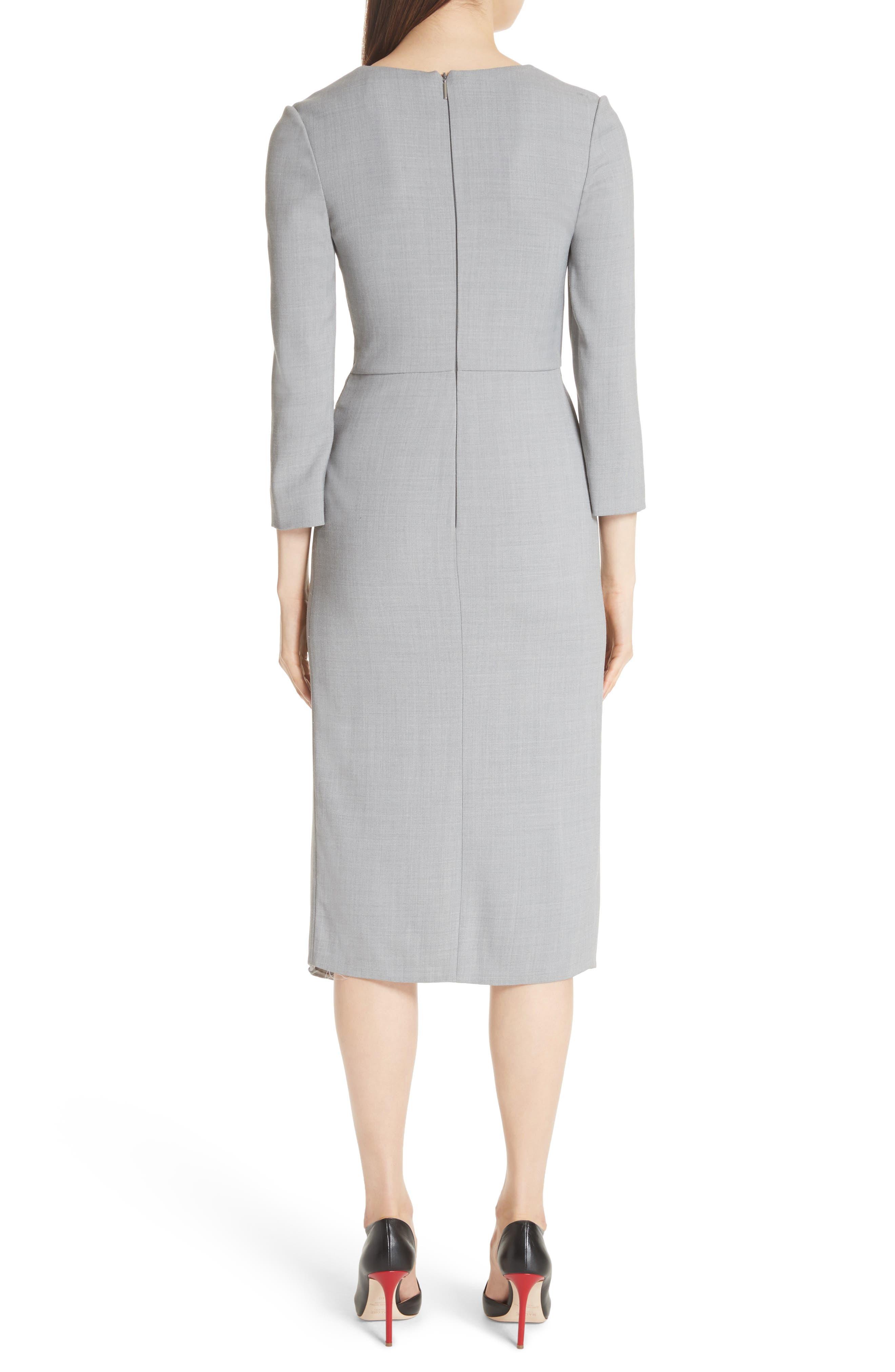 Wrap Panel Envelope Hem Dress,                             Alternate thumbnail 2, color,                             Light Grey Melange