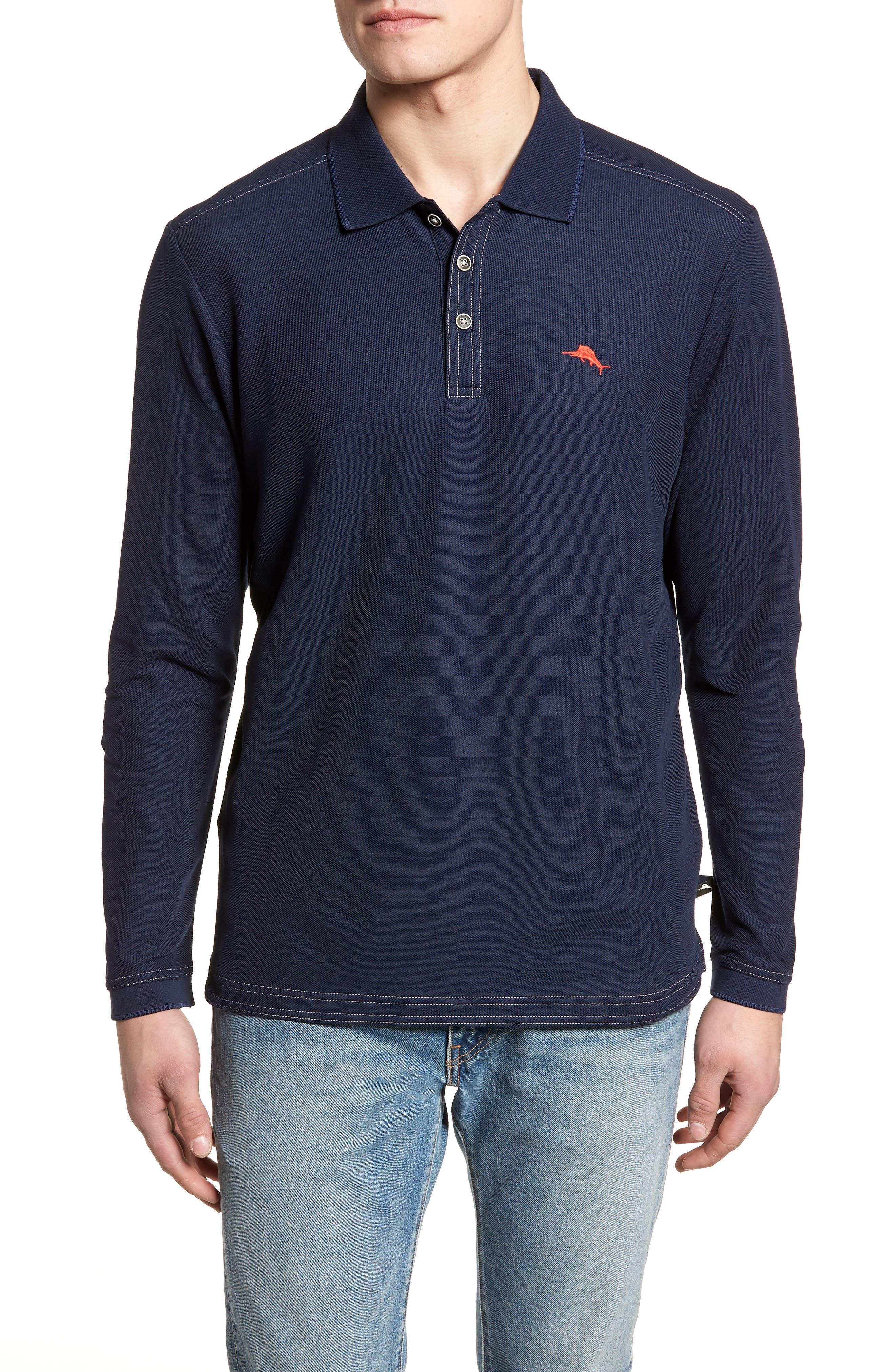 Emfielder Long Sleeve Polo,                         Main,                         color, Blue Note