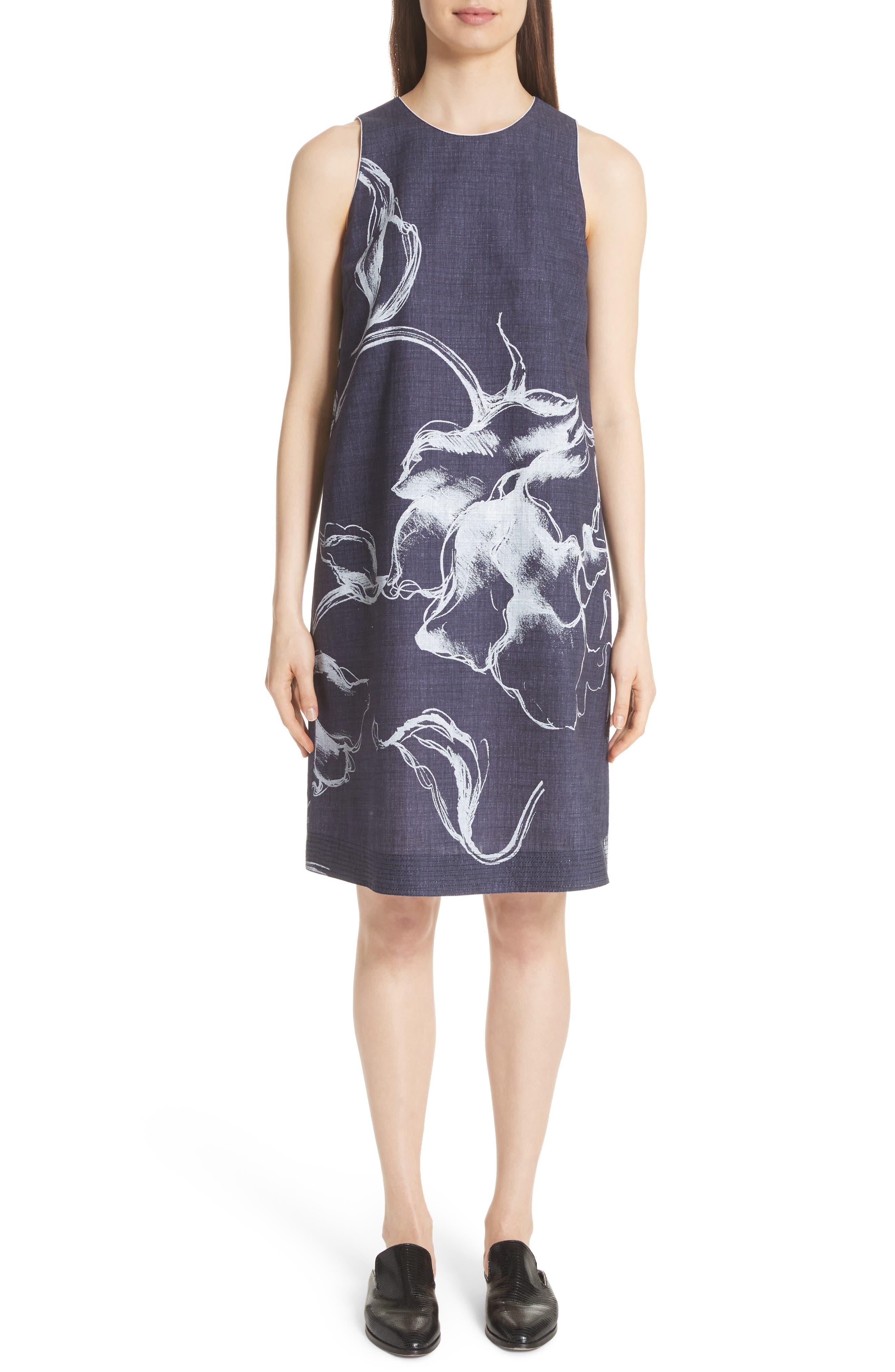 Hana Print Chambray Dress,                             Main thumbnail 1, color,                             Ink Multi