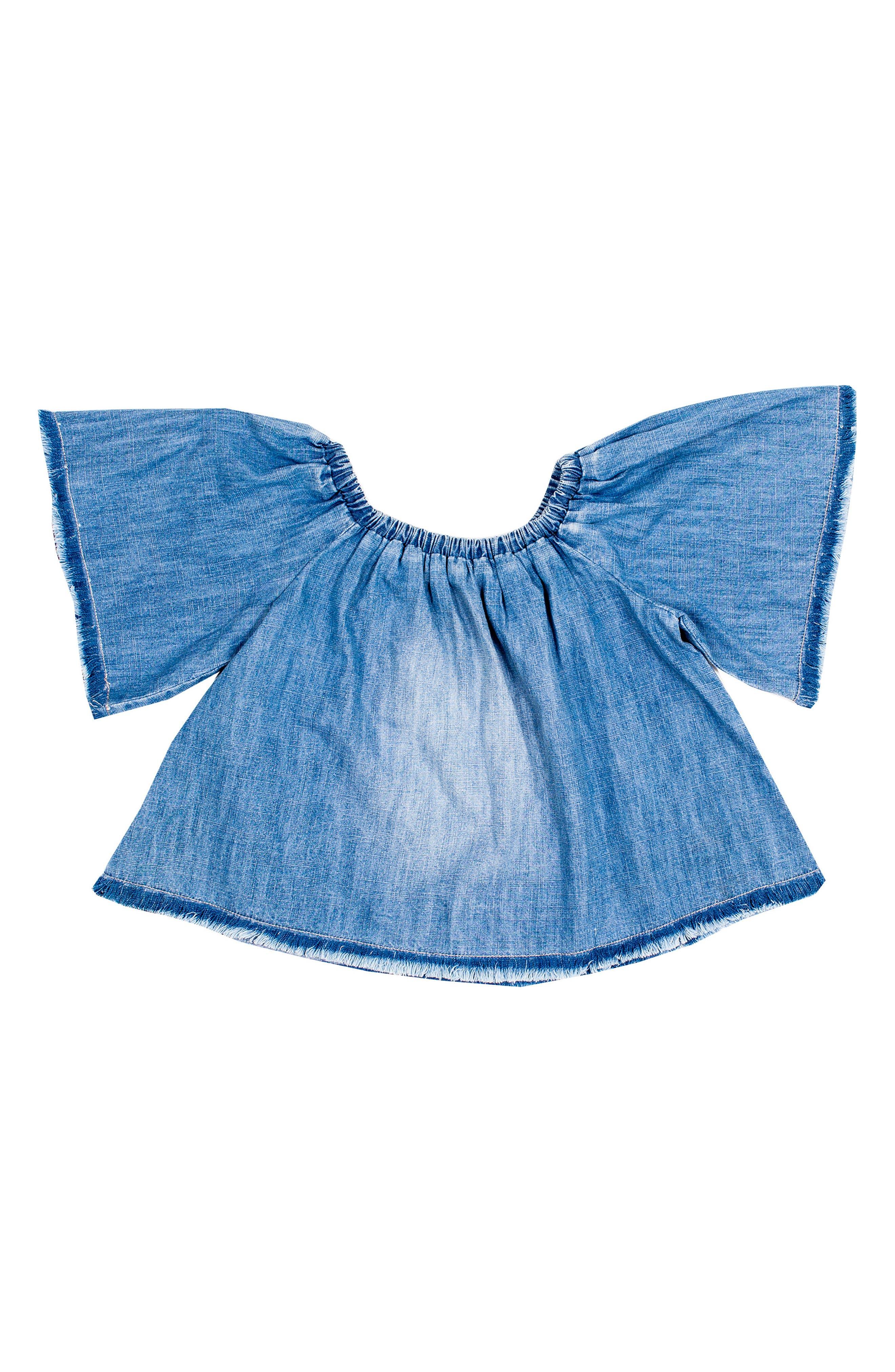 BOWIE X JAMES Fray Denim Off the Shoulder Top (Toddler Girls, Little Girls & Big Girls)