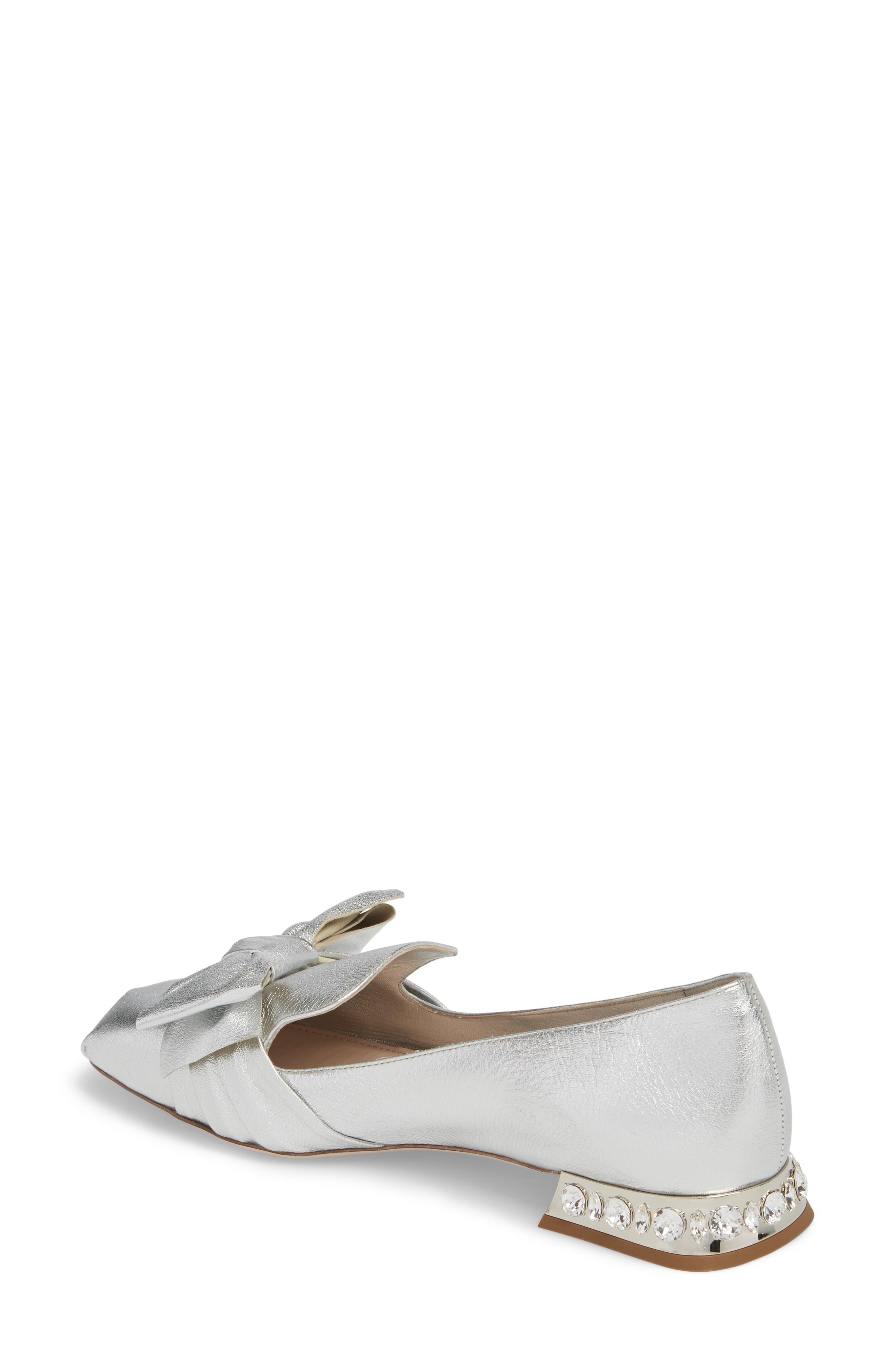 Embellished Heel Bow Loafer,                             Alternate thumbnail 2, color,                             Silver