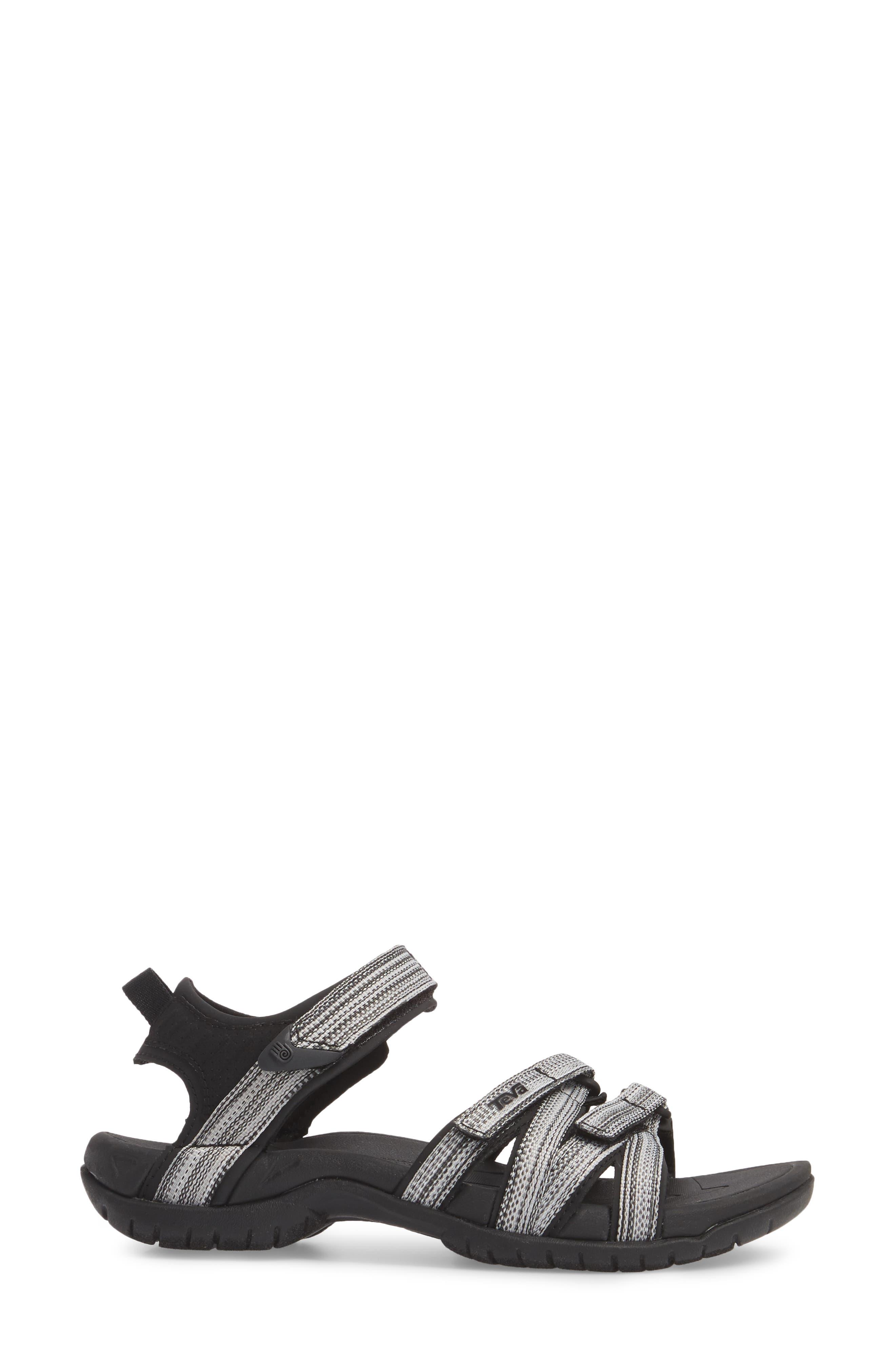 'Tirra' Sandal,                             Alternate thumbnail 3, color,                             Black/ White Multi Fabric