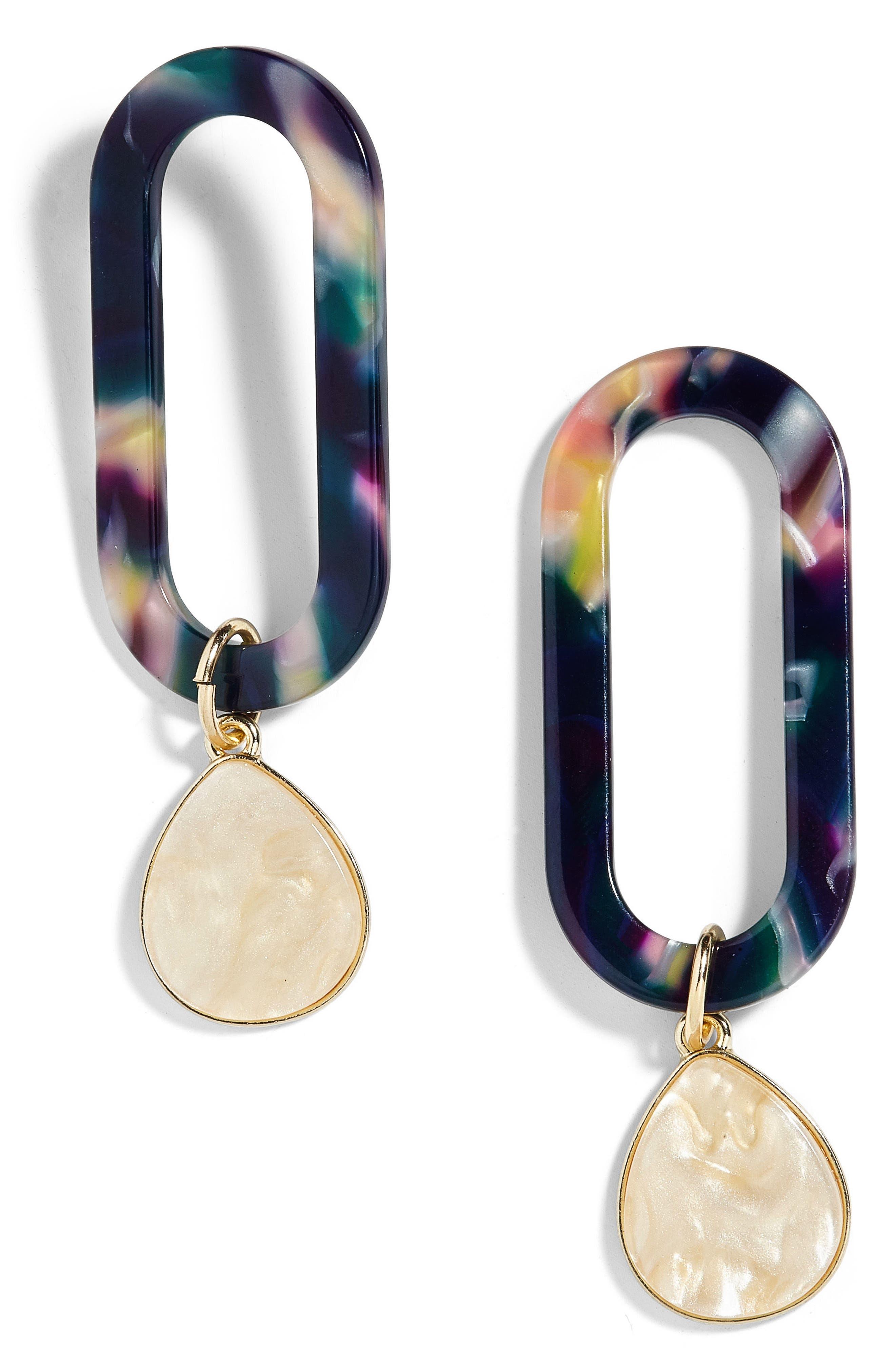 Tereza Curbed Rectangle Acrylic Drop Earrings,                             Main thumbnail 1, color,                             Navy/ Yellow
