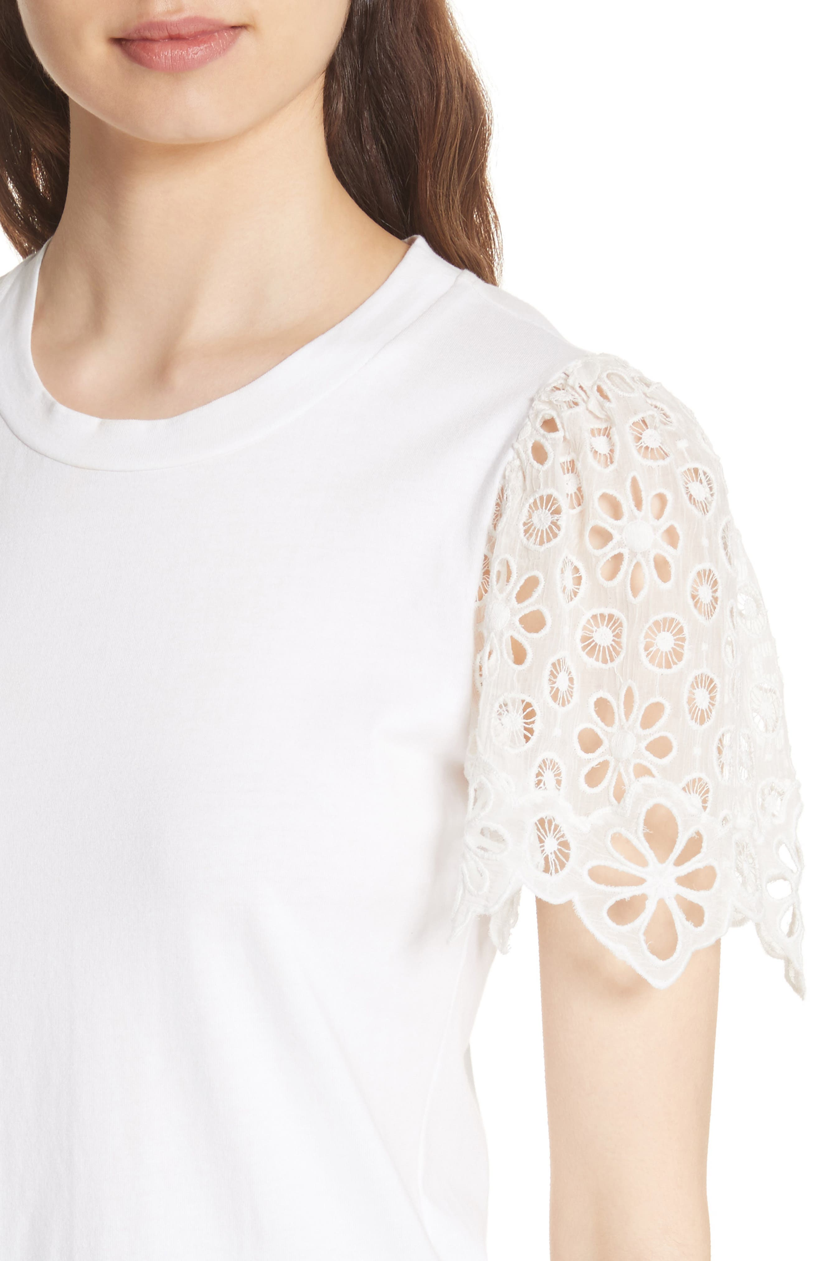 Lace Sleeve Cotton Jersey Top,                             Alternate thumbnail 4, color,                             Milk