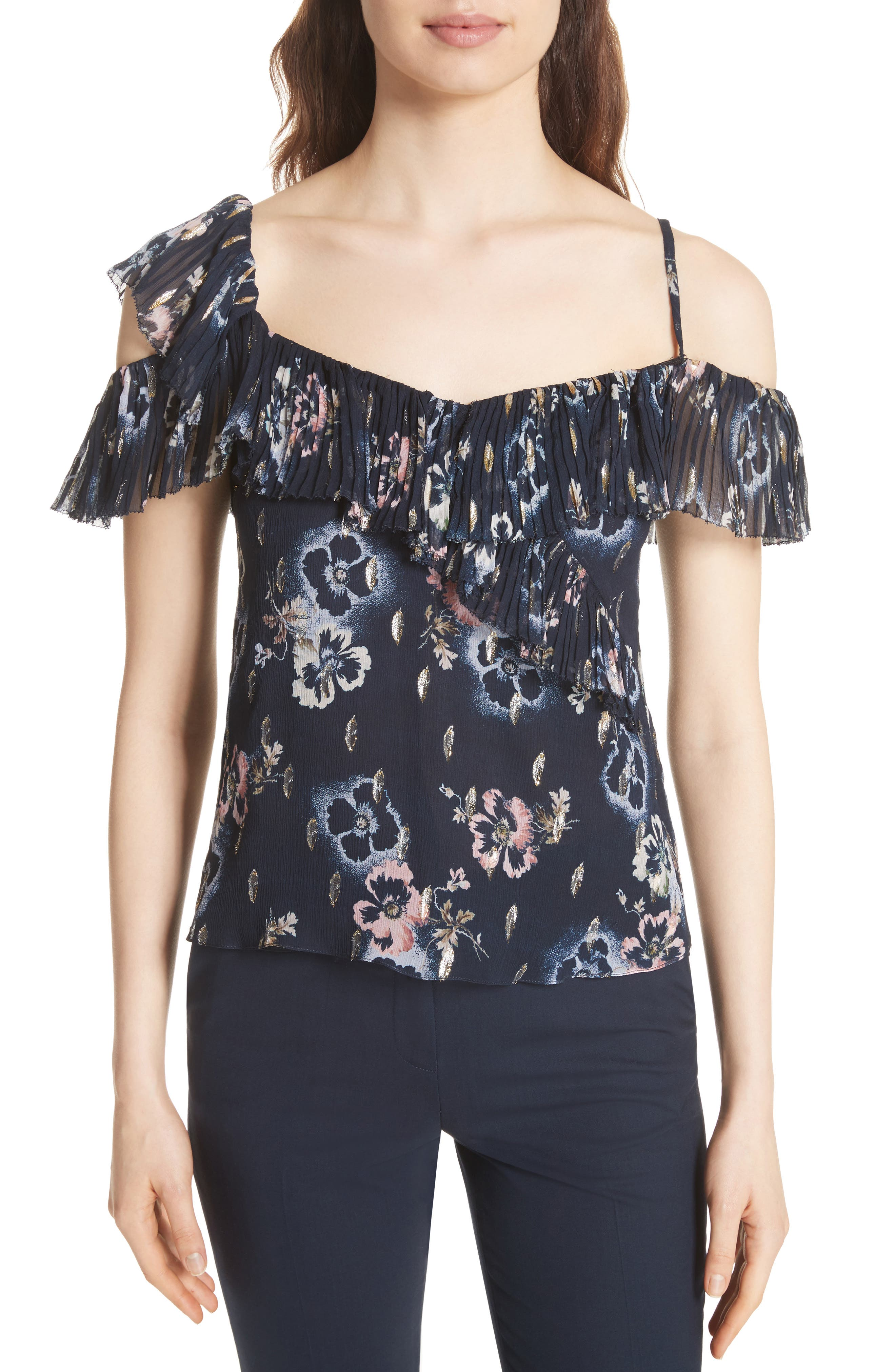 Faded Floral Top,                         Main,                         color, Navy