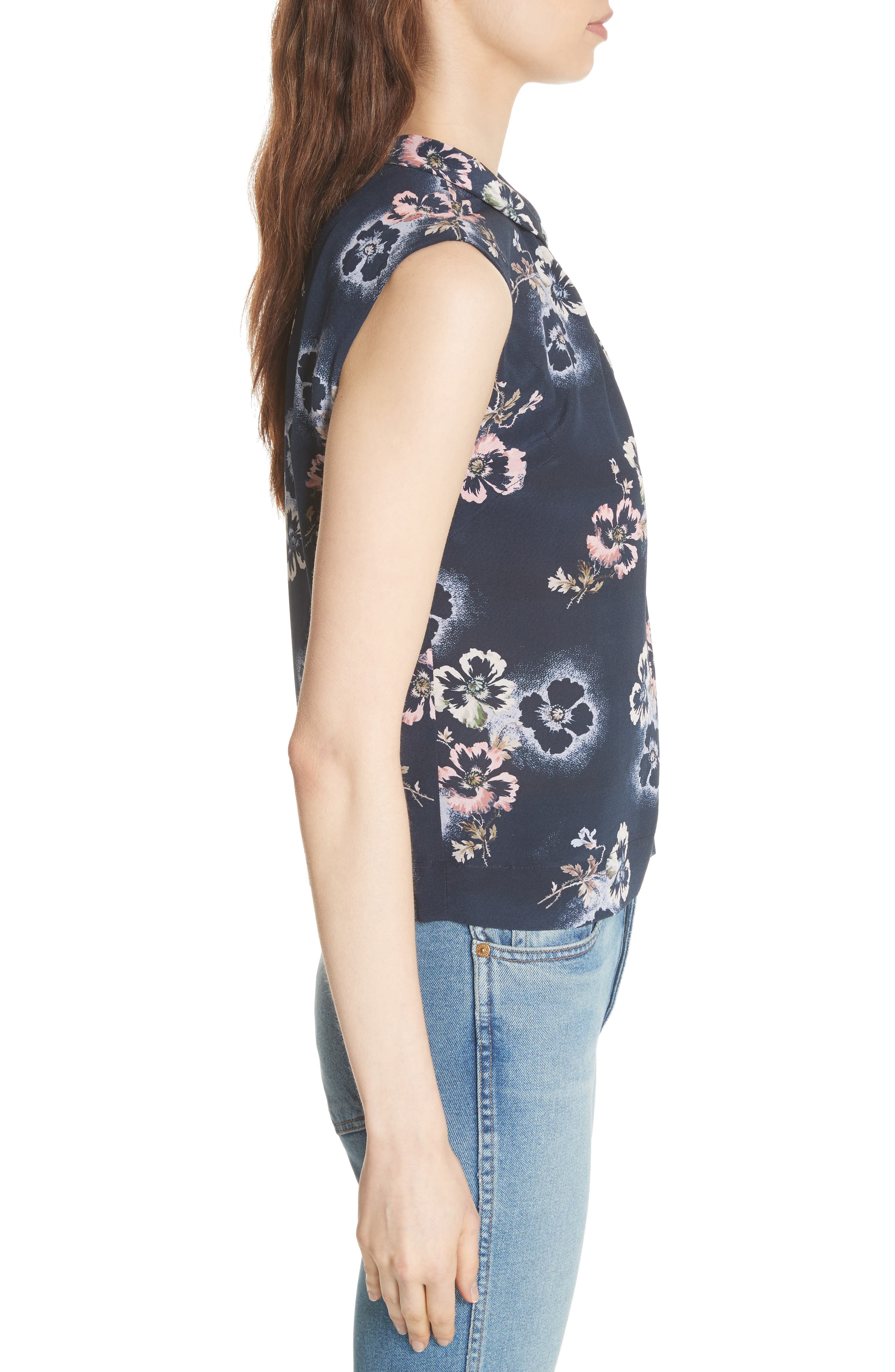 Floral Knotted Silk Top,                             Alternate thumbnail 3, color,                             Navy