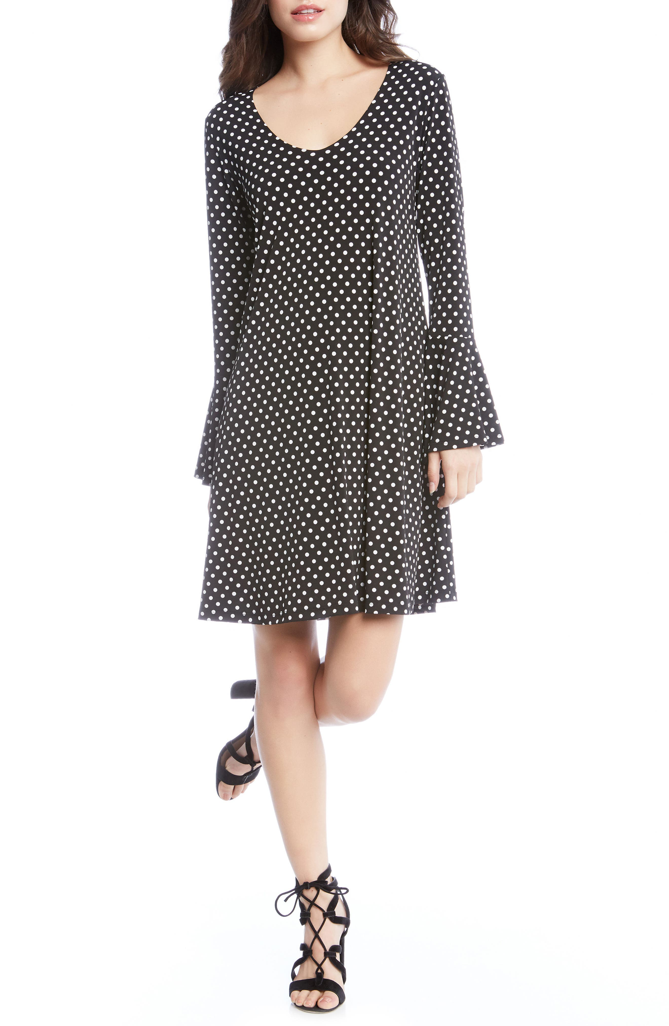 Polka Dot A-Line Dress,                             Main thumbnail 1, color,                             Dotted