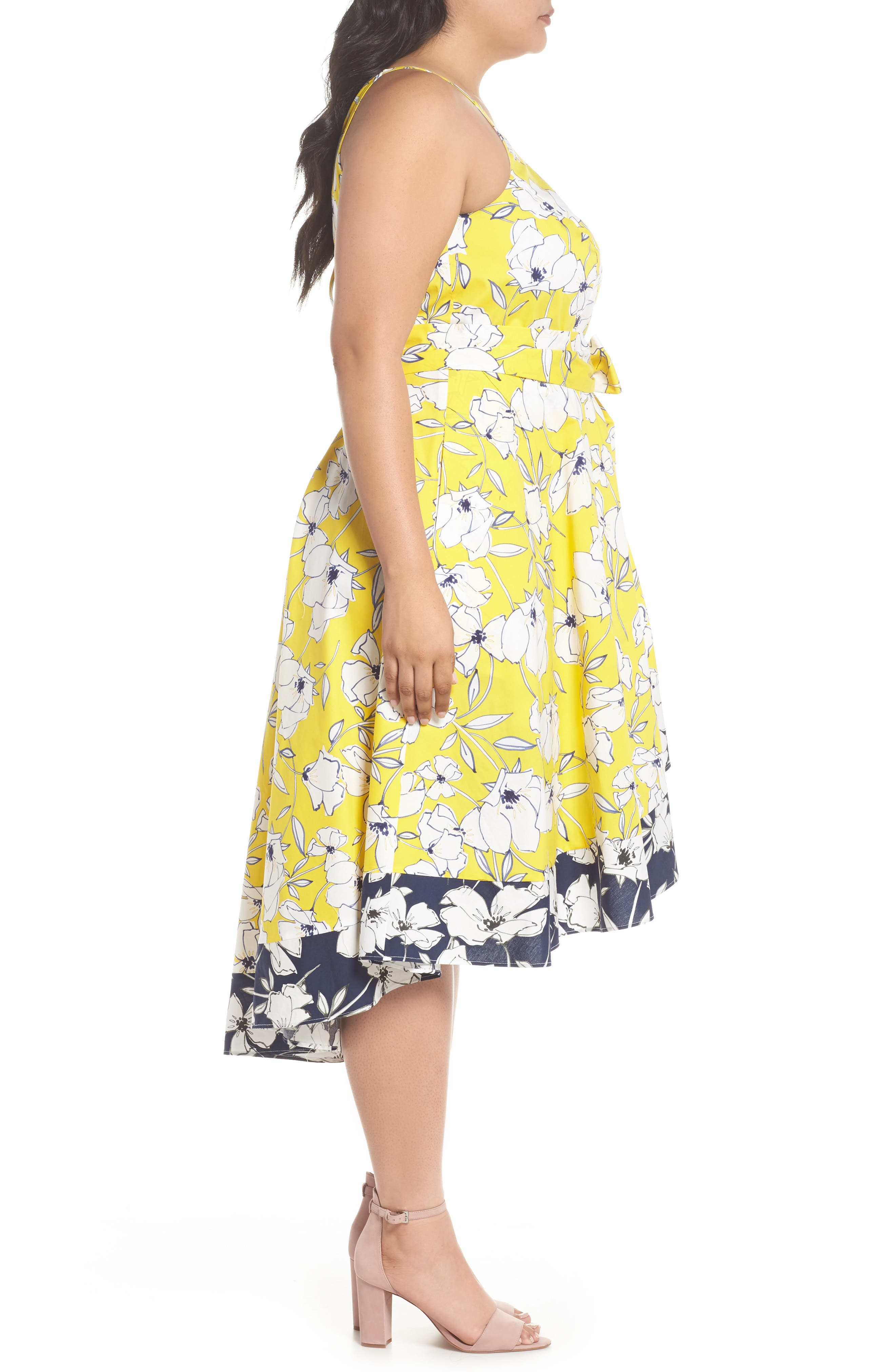Floral Fit & Flare Dress,                             Alternate thumbnail 4, color,                             Yellow/ Navy/ White