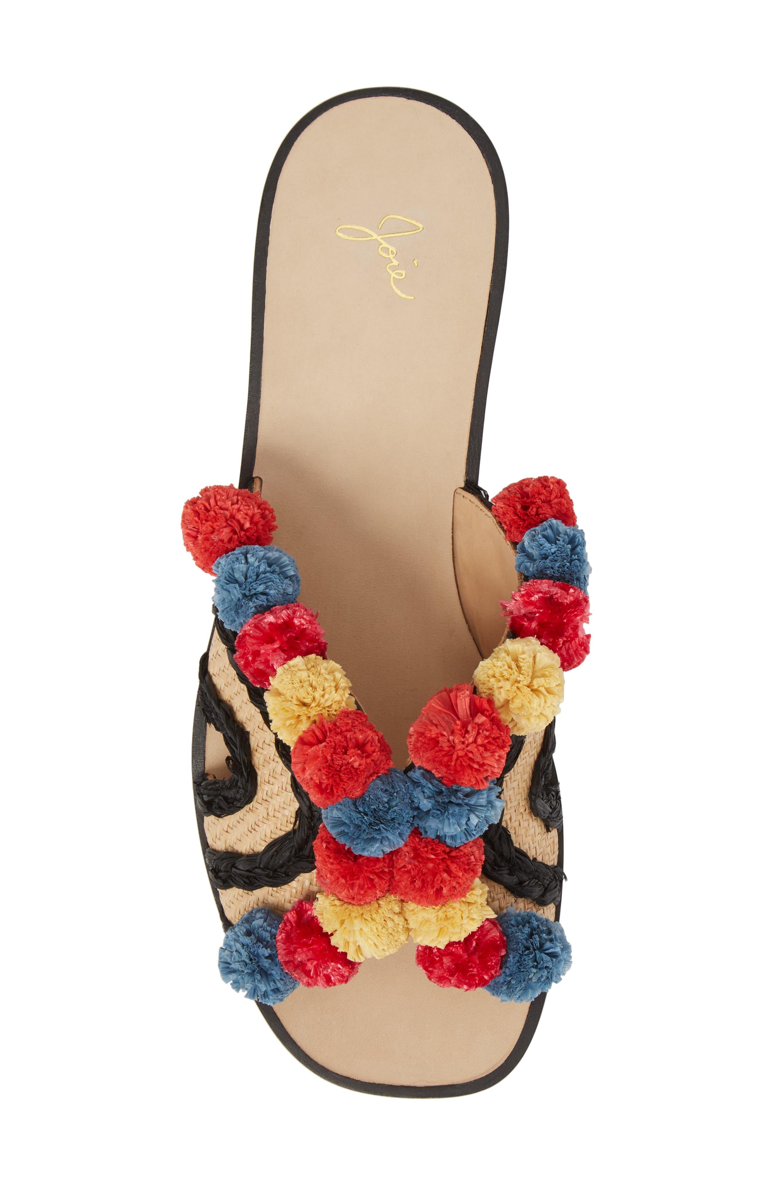 Paden Pompom Slide Sandals,                             Alternate thumbnail 5, color,                             Multi