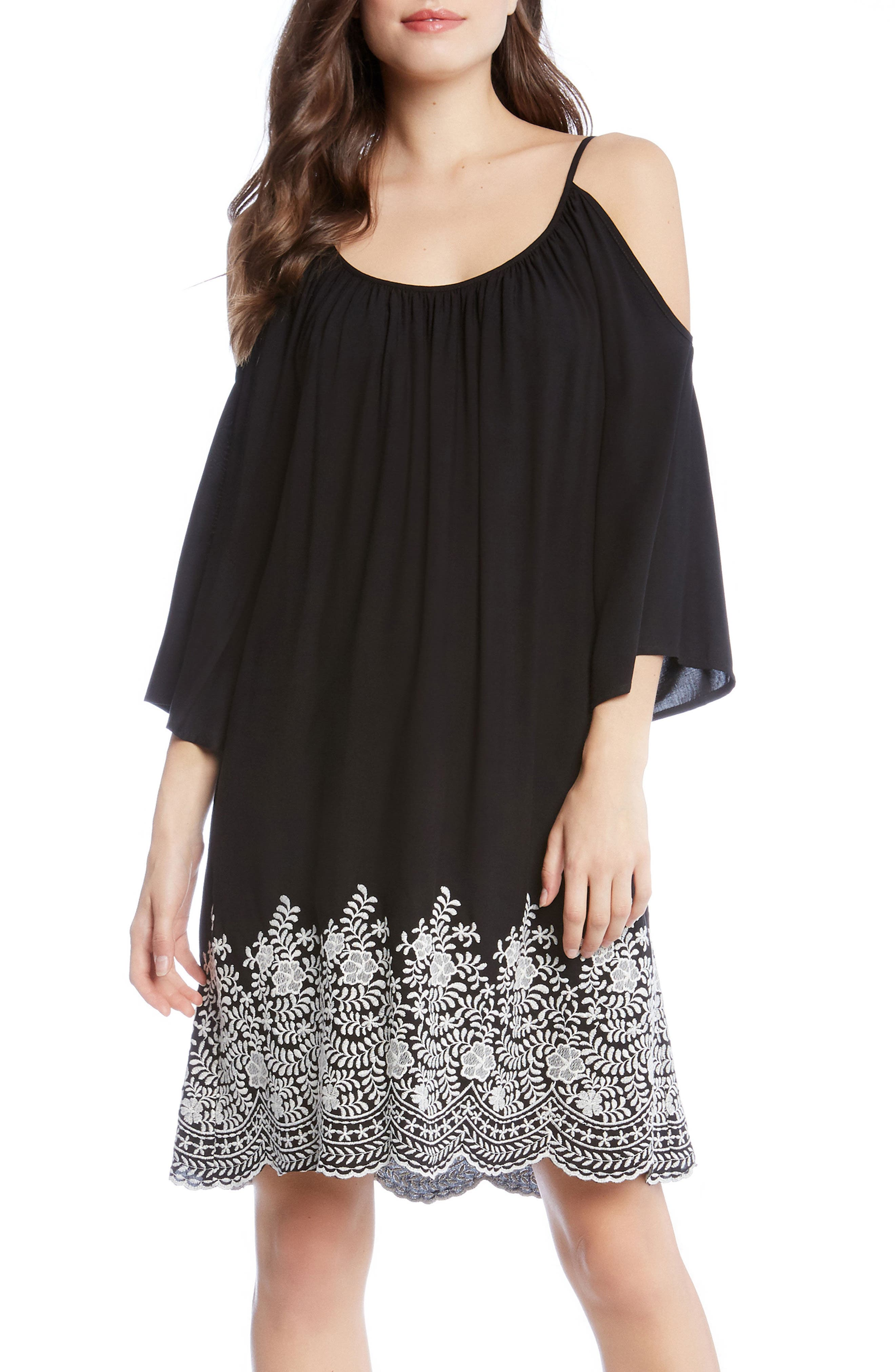 Embroidered Cold Shoulder Dress,                         Main,                         color, Black