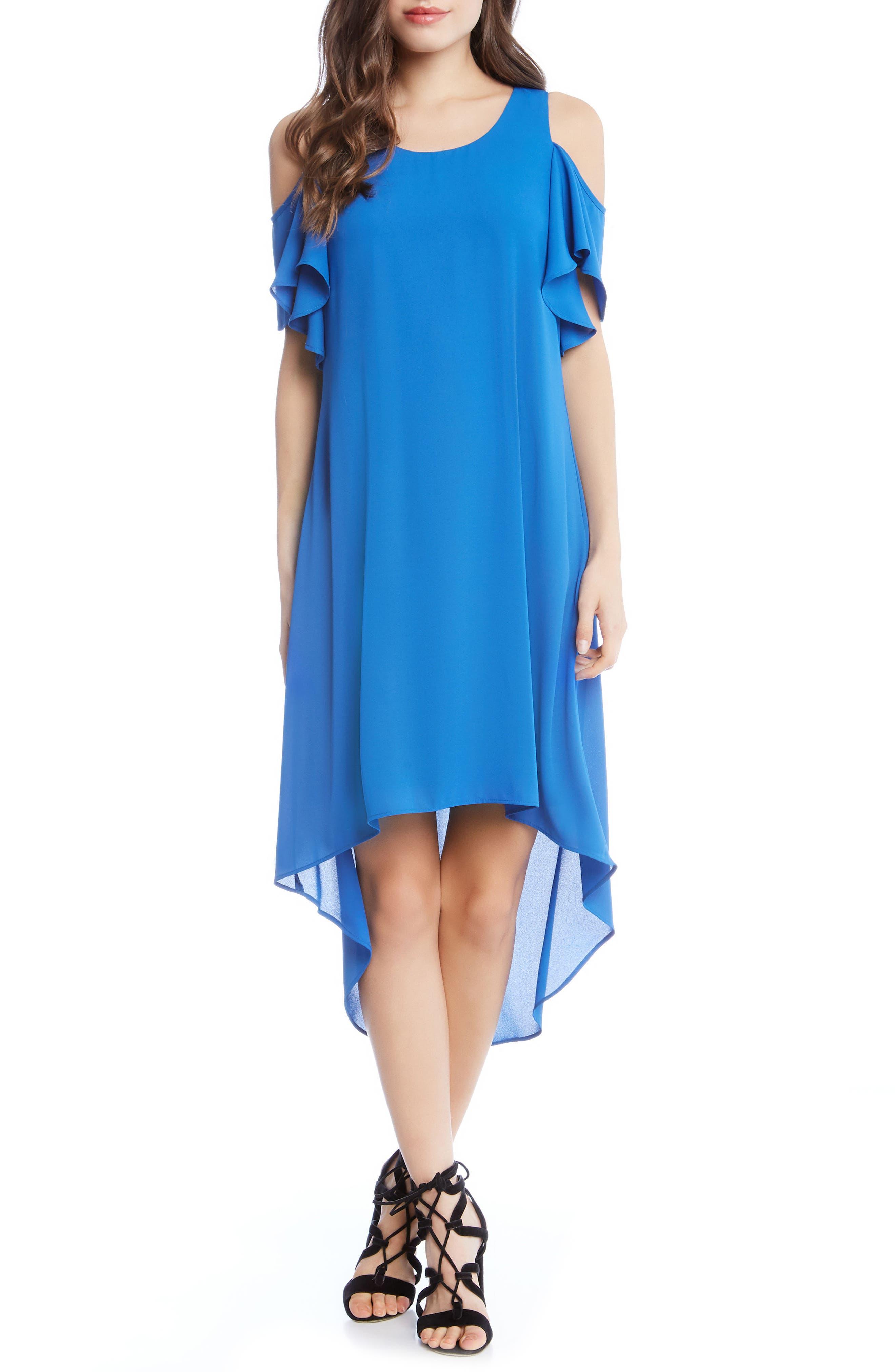 Cold Shoulder High/Low Dress,                             Main thumbnail 1, color,                             Cobalt