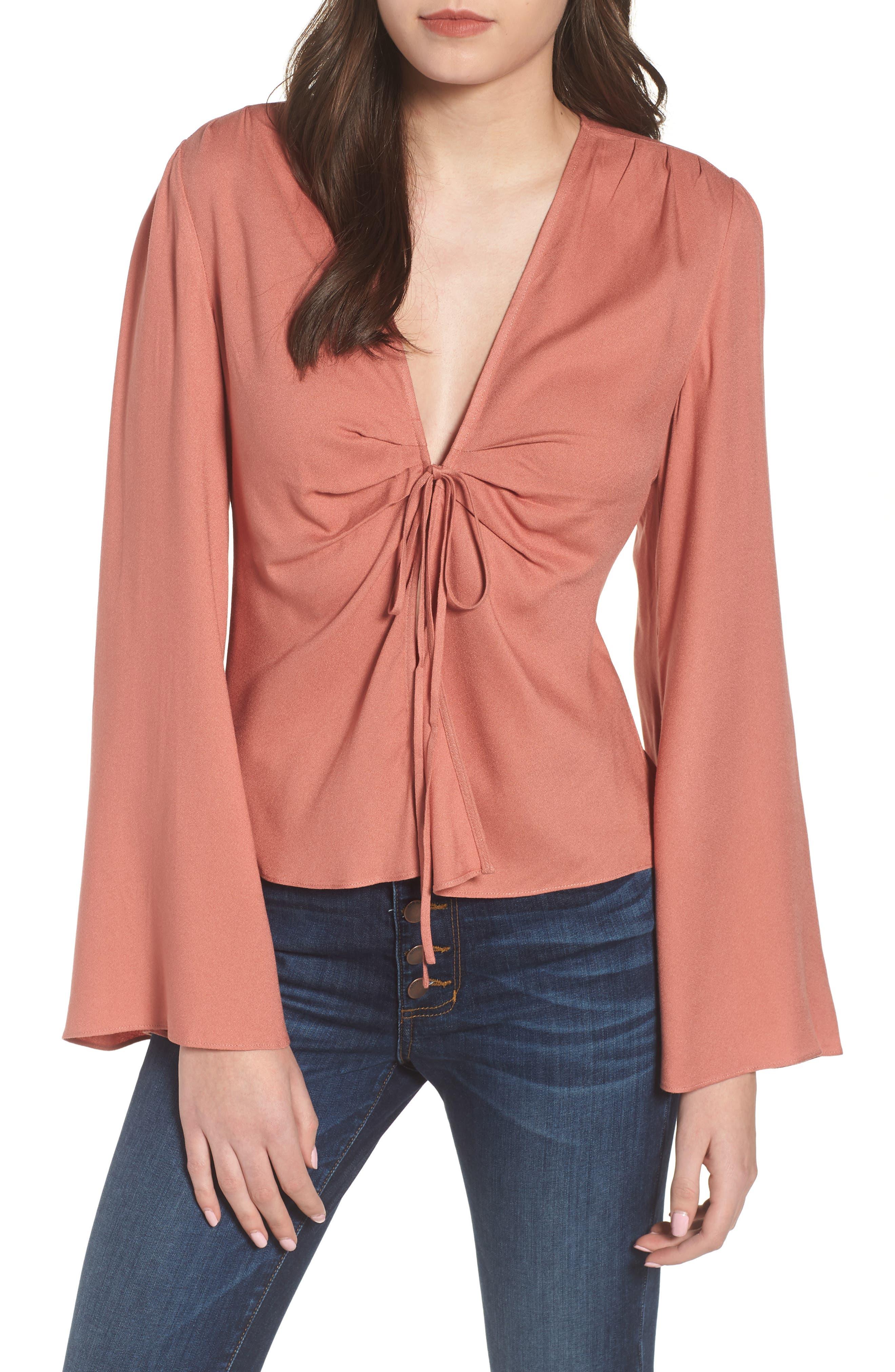 Tie Front Blouse,                         Main,                         color, Coral Cedar