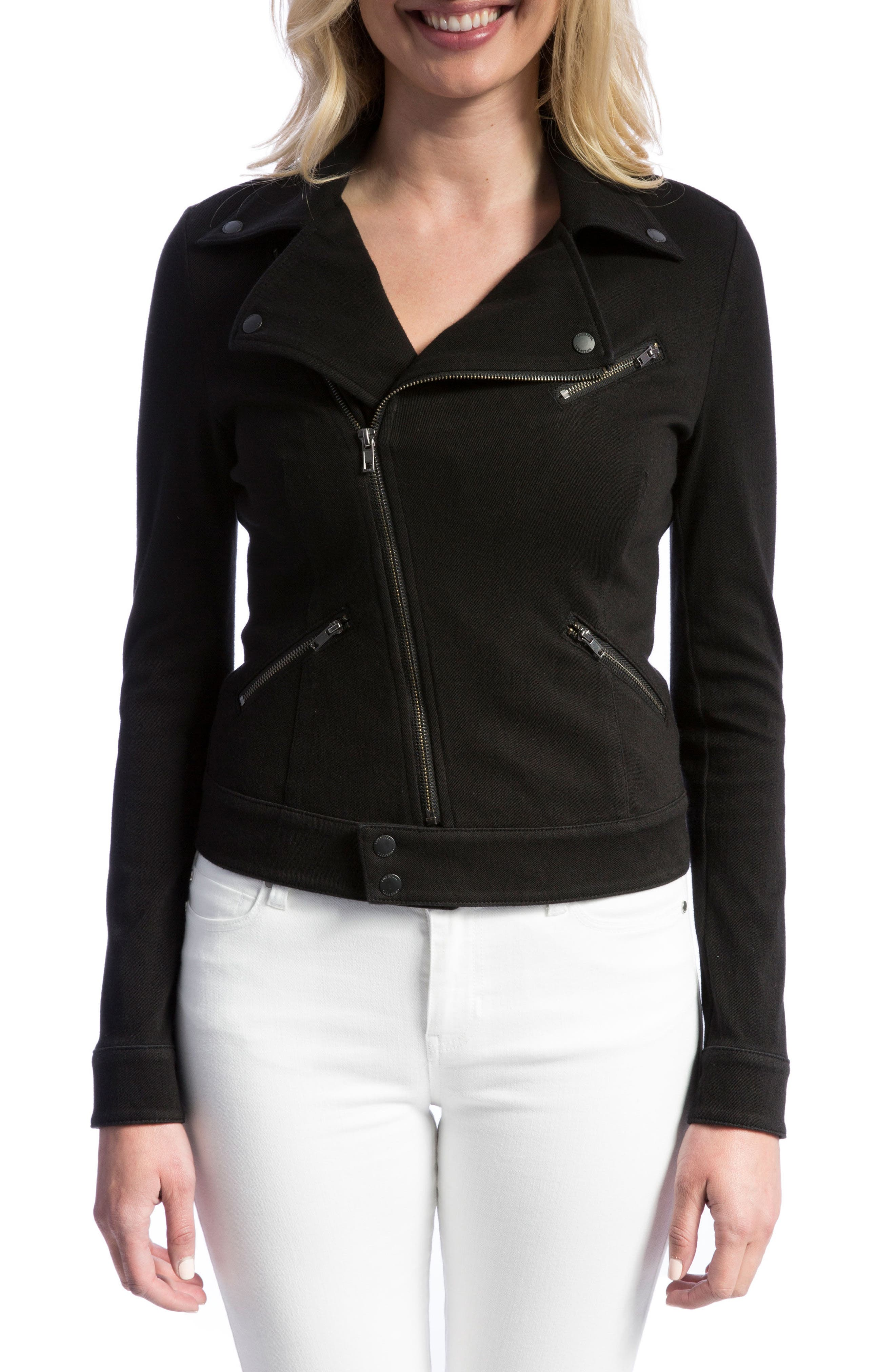 New Moto Stretch Cotton Jacket,                         Main,                         color, Black Rinse