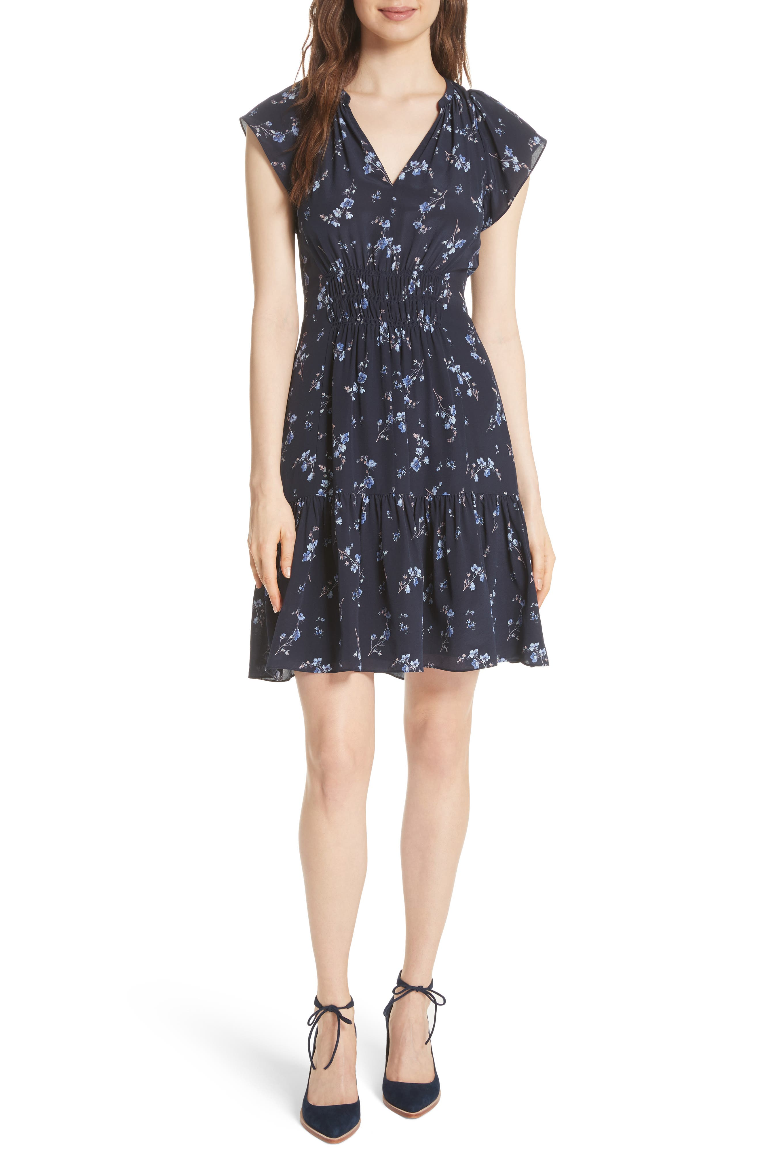 Francine Split Neck Silk Dress,                         Main,                         color, Navy Combo