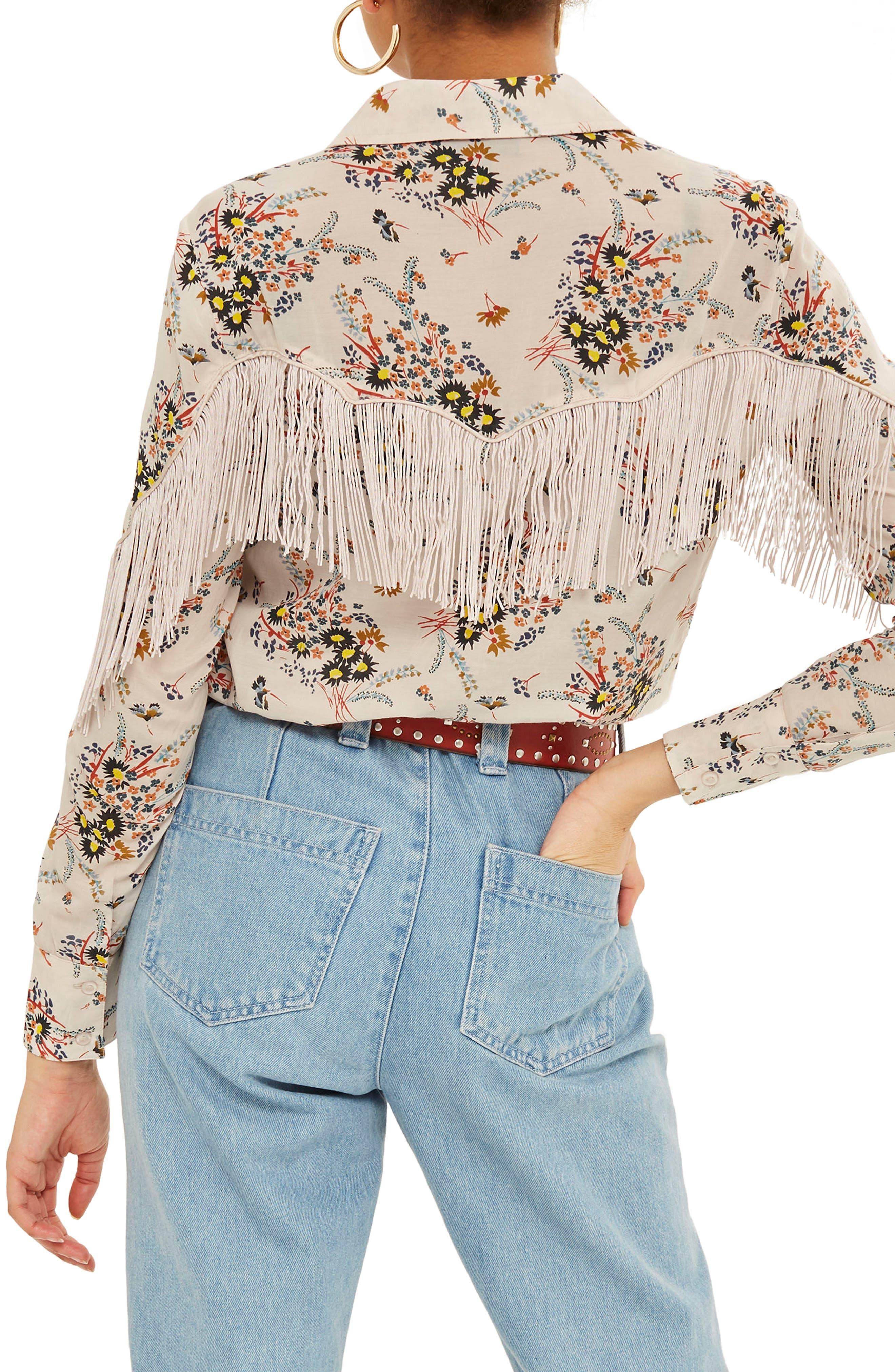 Rodeo Fringe Floral Shirt,                             Alternate thumbnail 2, color,                             Ivory Multi