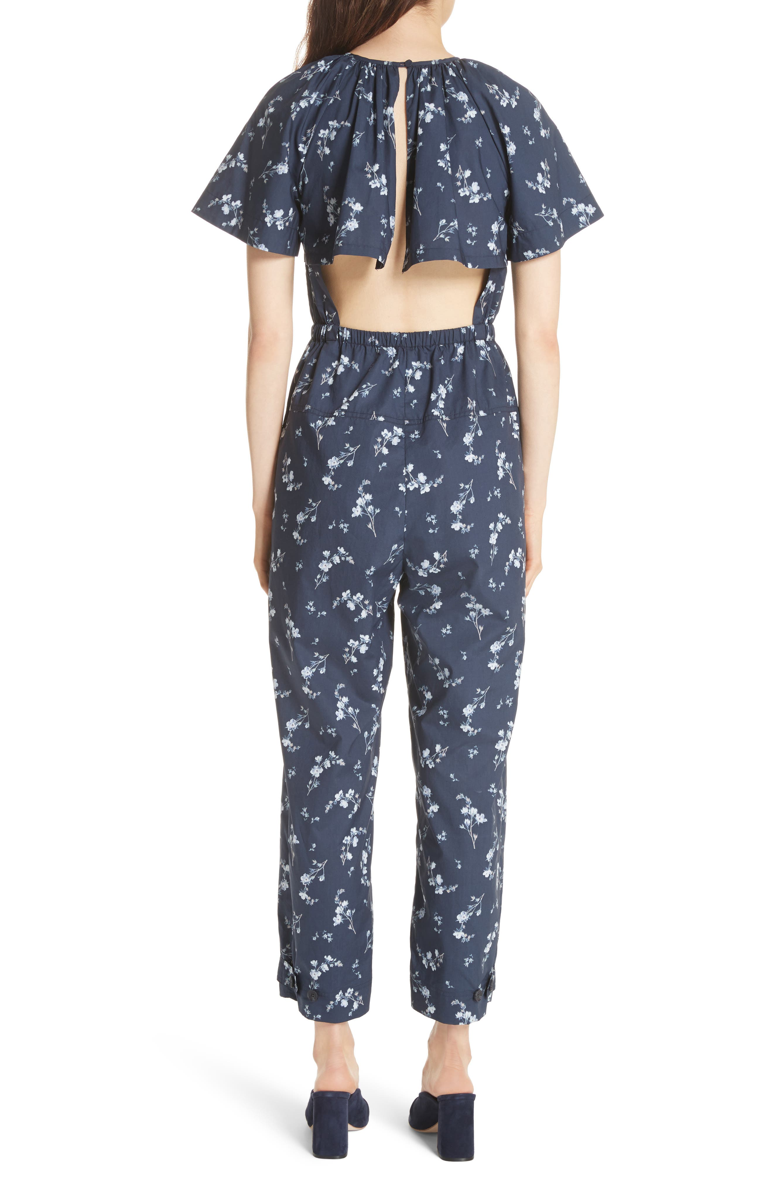 Francine Floral Print Jumpsuit,                             Alternate thumbnail 2, color,                             Navy Combo
