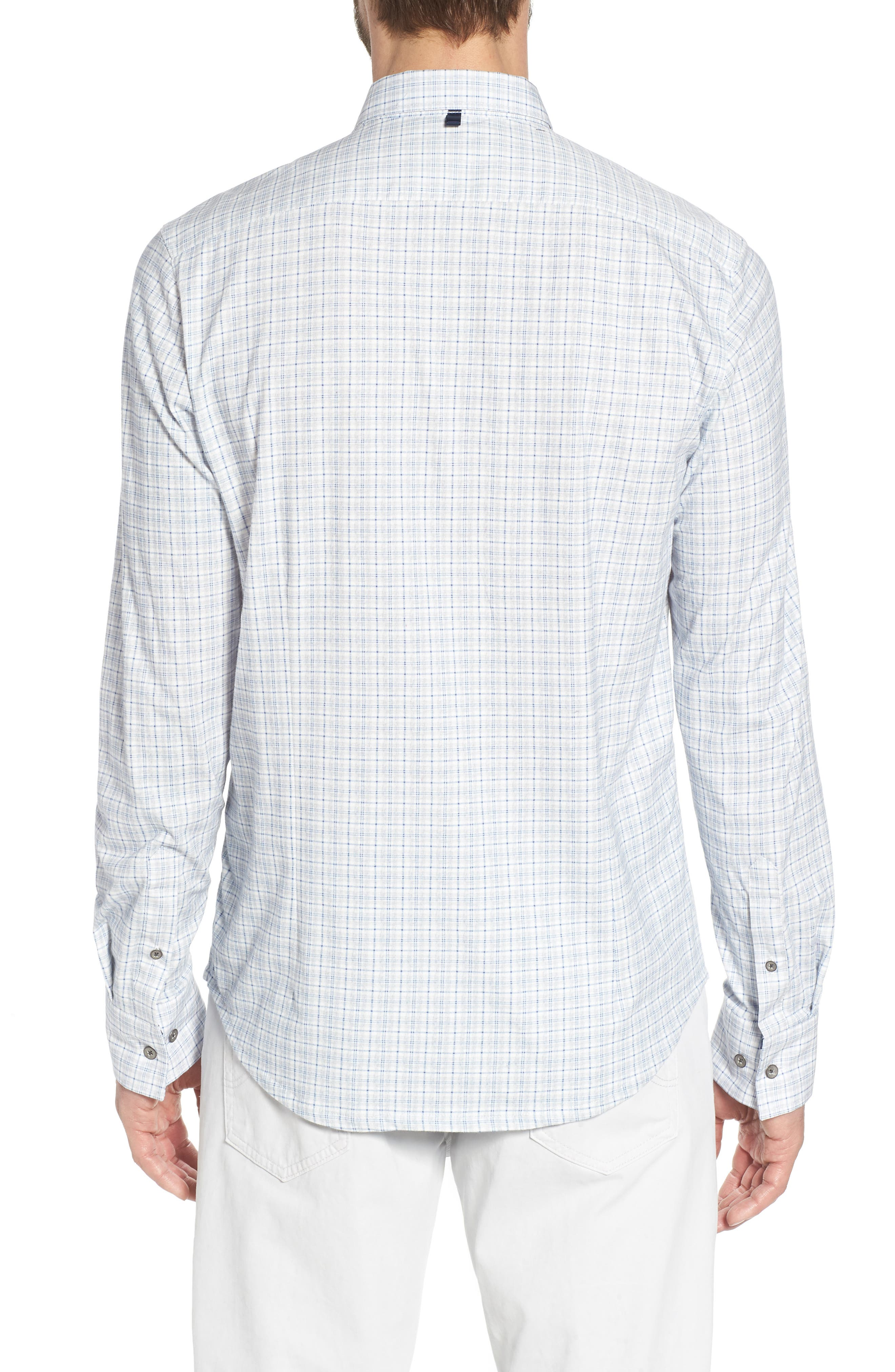 Heather Slim Fit Check Sport Shirt,                             Alternate thumbnail 2, color,                             Blue