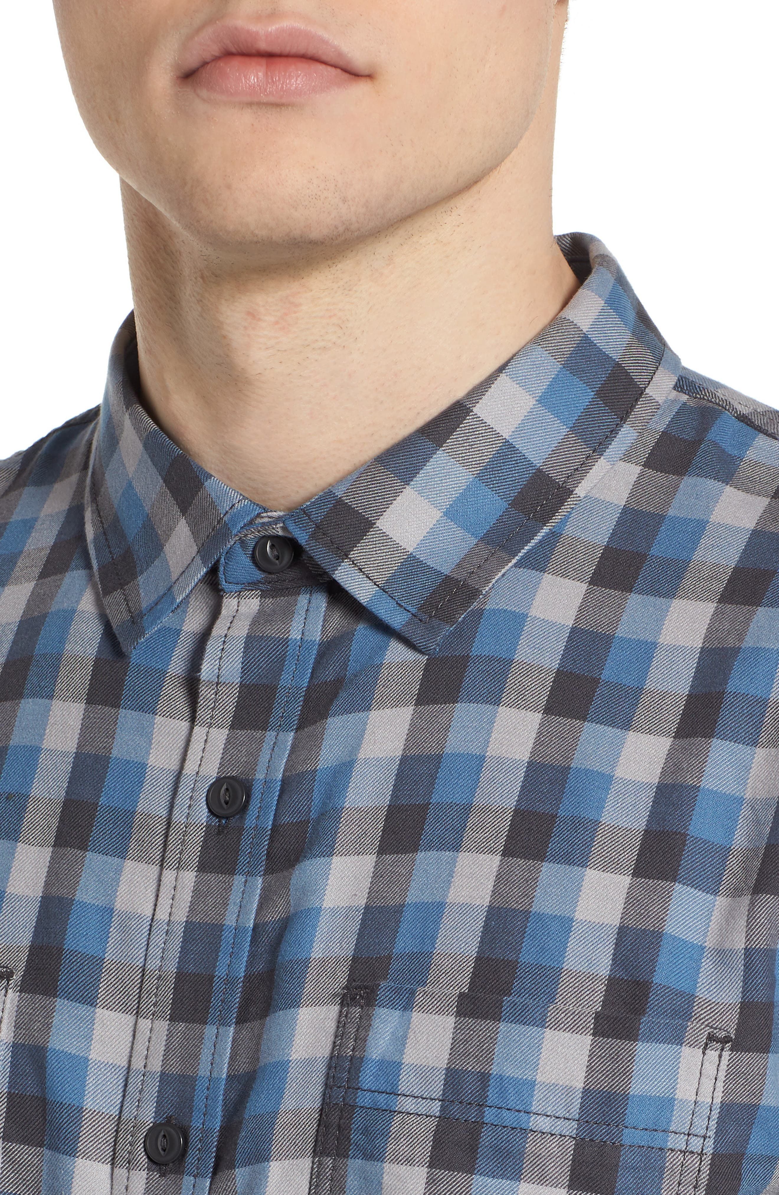 Alameda II Plaid Flannel Shirt,                             Alternate thumbnail 4, color,                             Asphalt/ Copen Blue