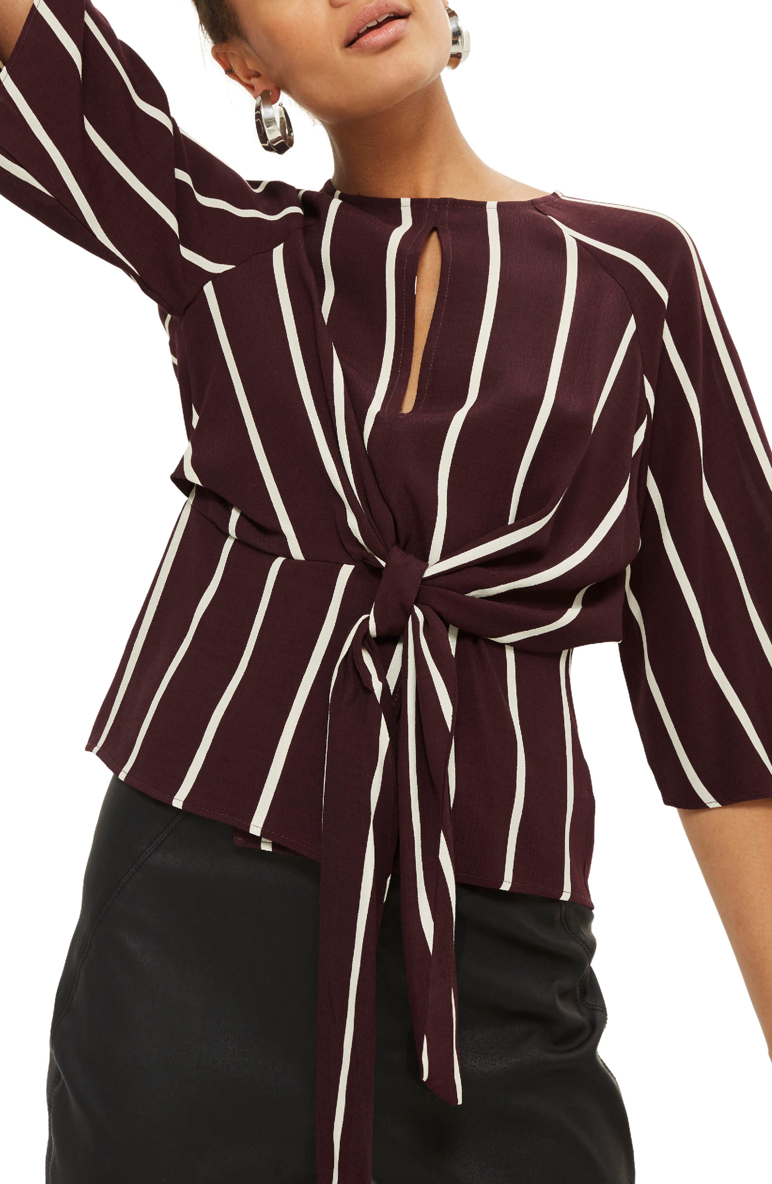 Stripe Front Knot Blouse,                         Main,                         color, Burgundy Multi