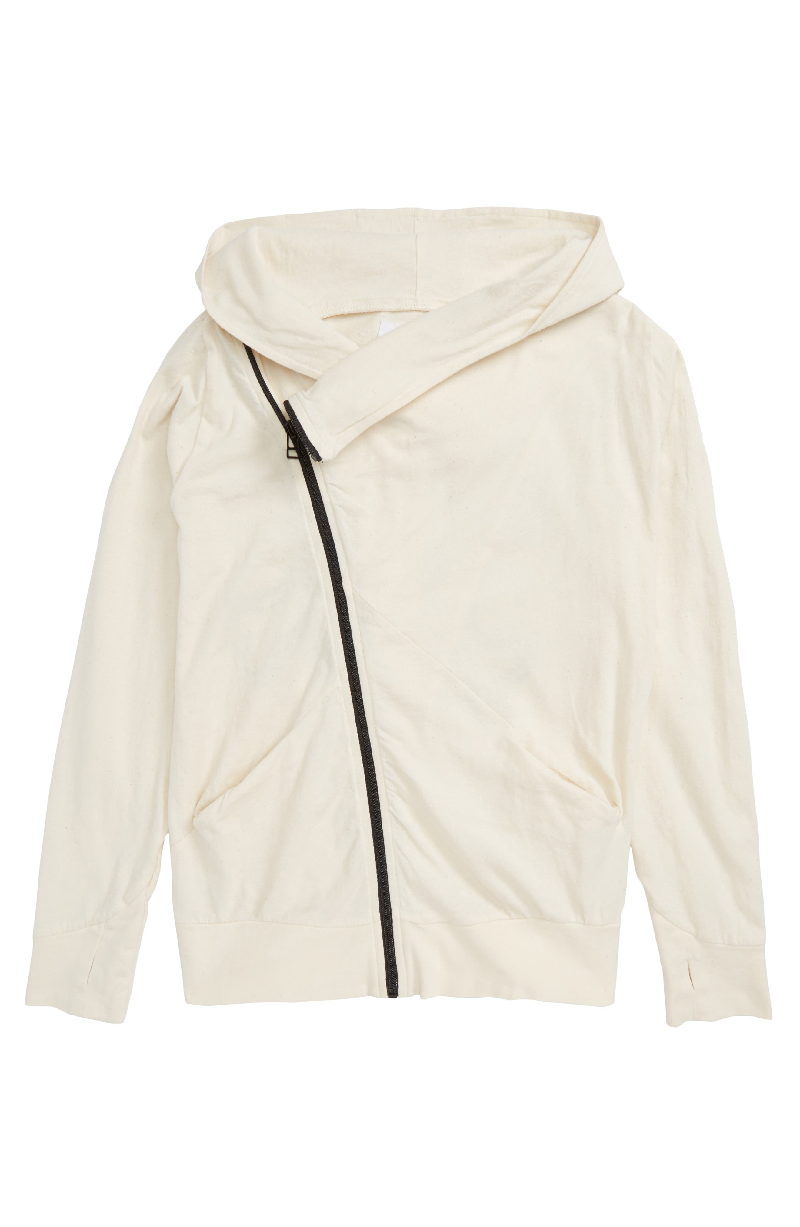 Embroidered Skull Zip Front Hoodie,                         Main,                         color, White